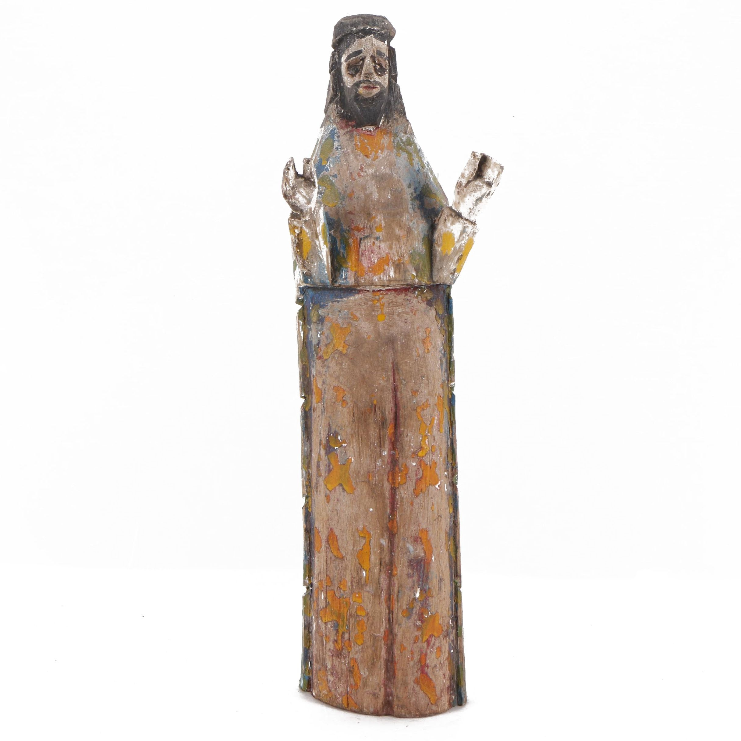 N.F. Polychrome Wooden Carving of Christlike Figure