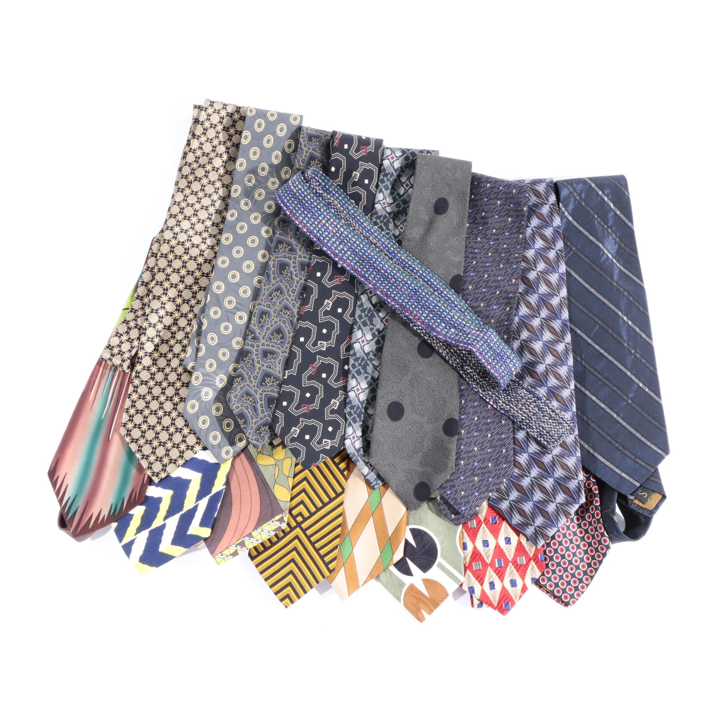 Men's Vintage and Modern Printed Neckties Including Lanvin and Giorgio Armani