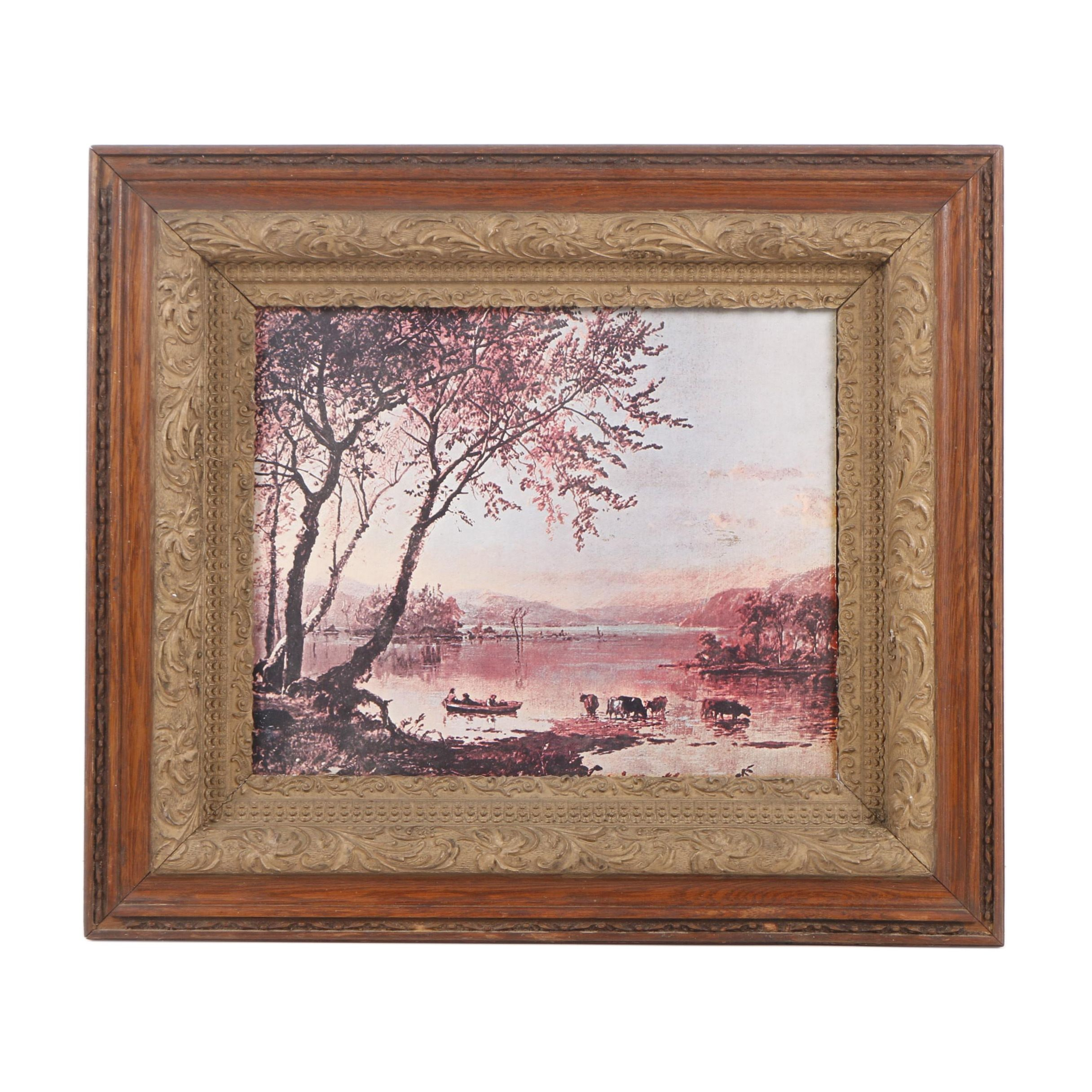 "Offset Lithograph After Jasper F. Cropsey ""Greenwood Lake"""