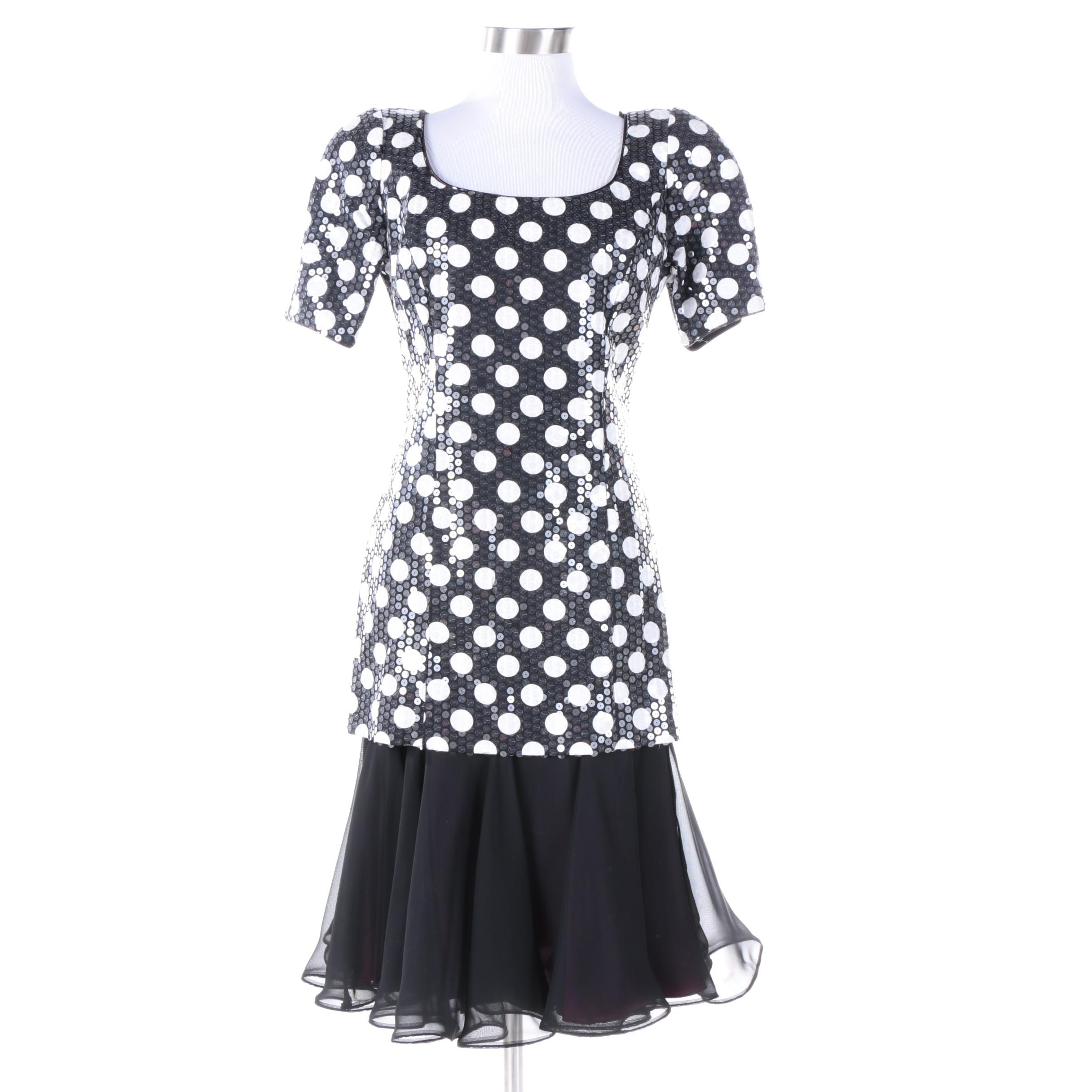 Vintage Lillie Rubin Sequined Polka Dot Dress with Chiffon Style Skirt