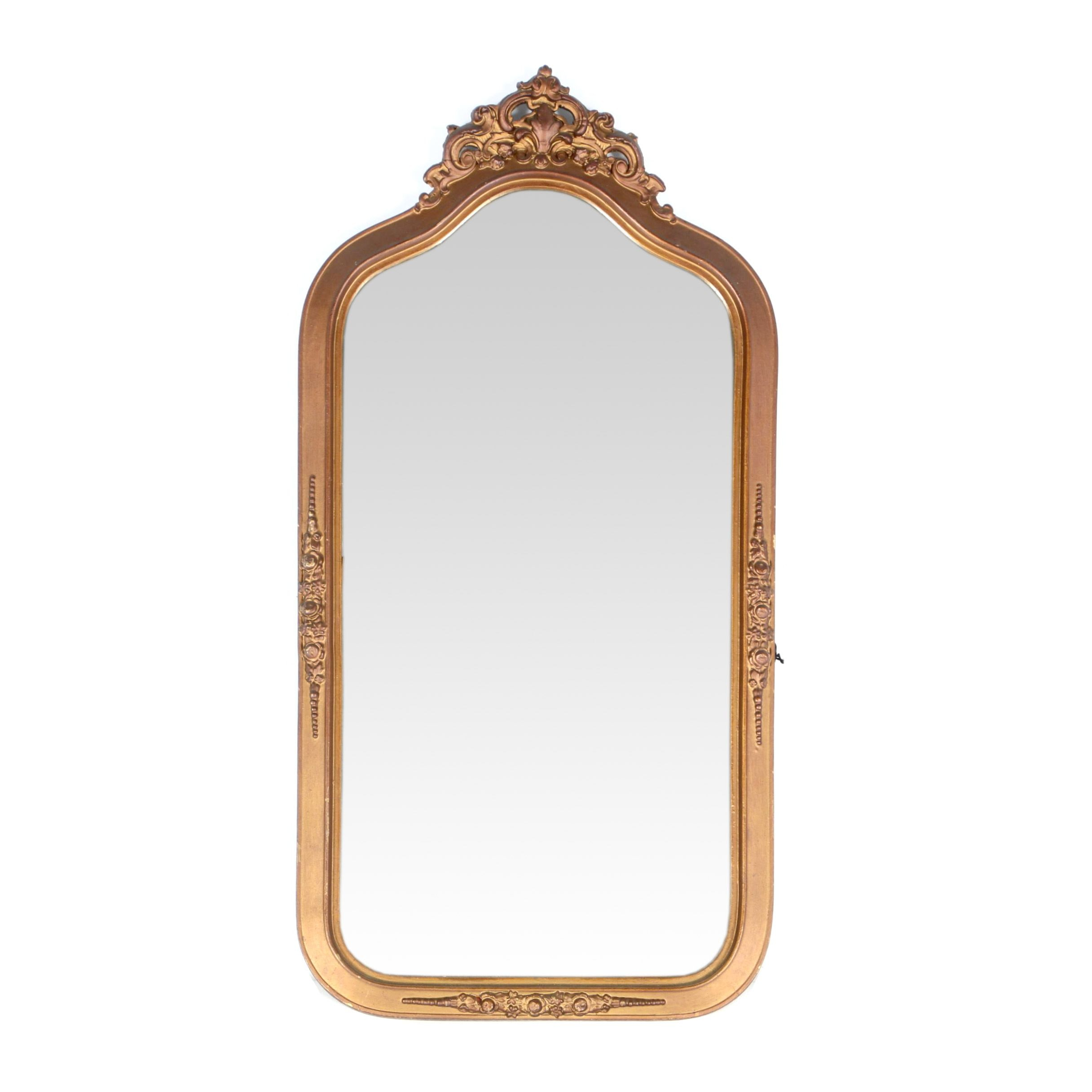 Antique Victorian Style Wall Mirror with Gold Tone Frame