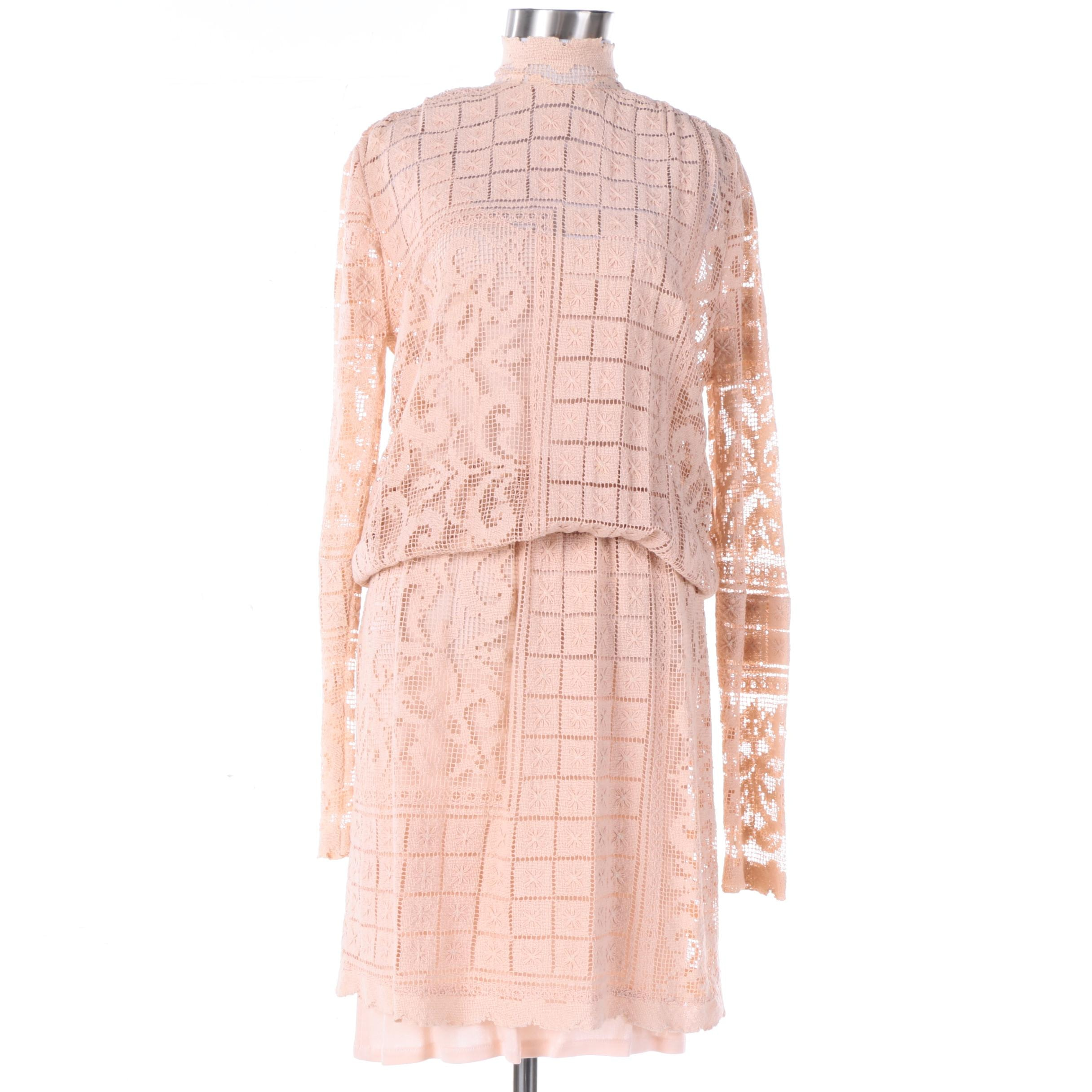 Vintage Becky Bisoulis Peach Knit Two-Piece Dress