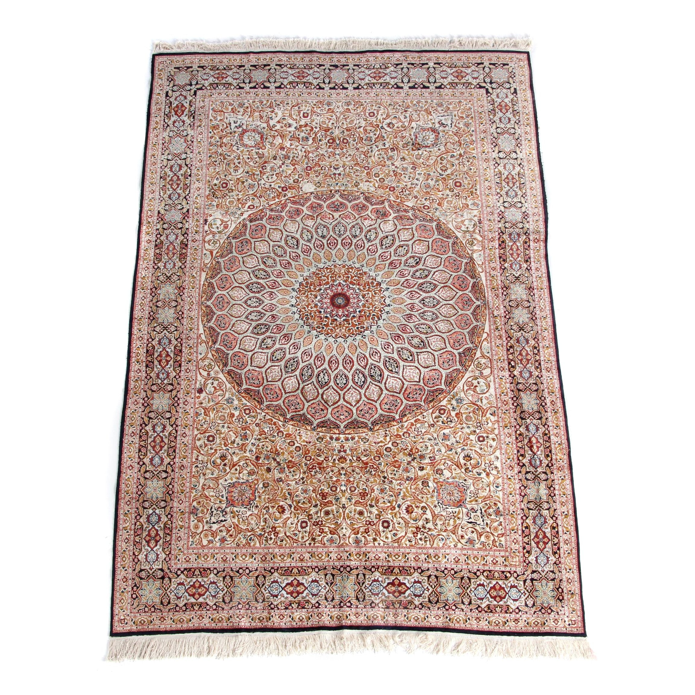 Finely Hand-Knotted Persian Qom Silk Area Rug