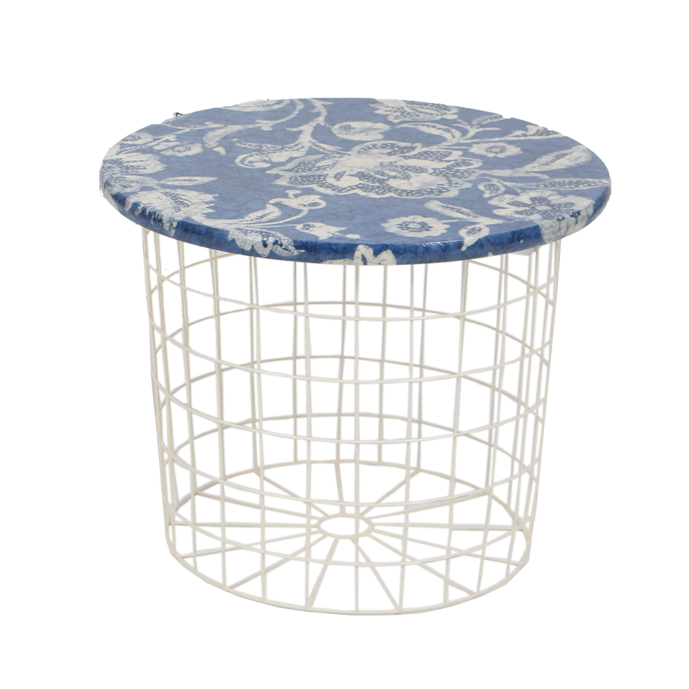 Round Wire Patio Side Table With Floral Fabric Top