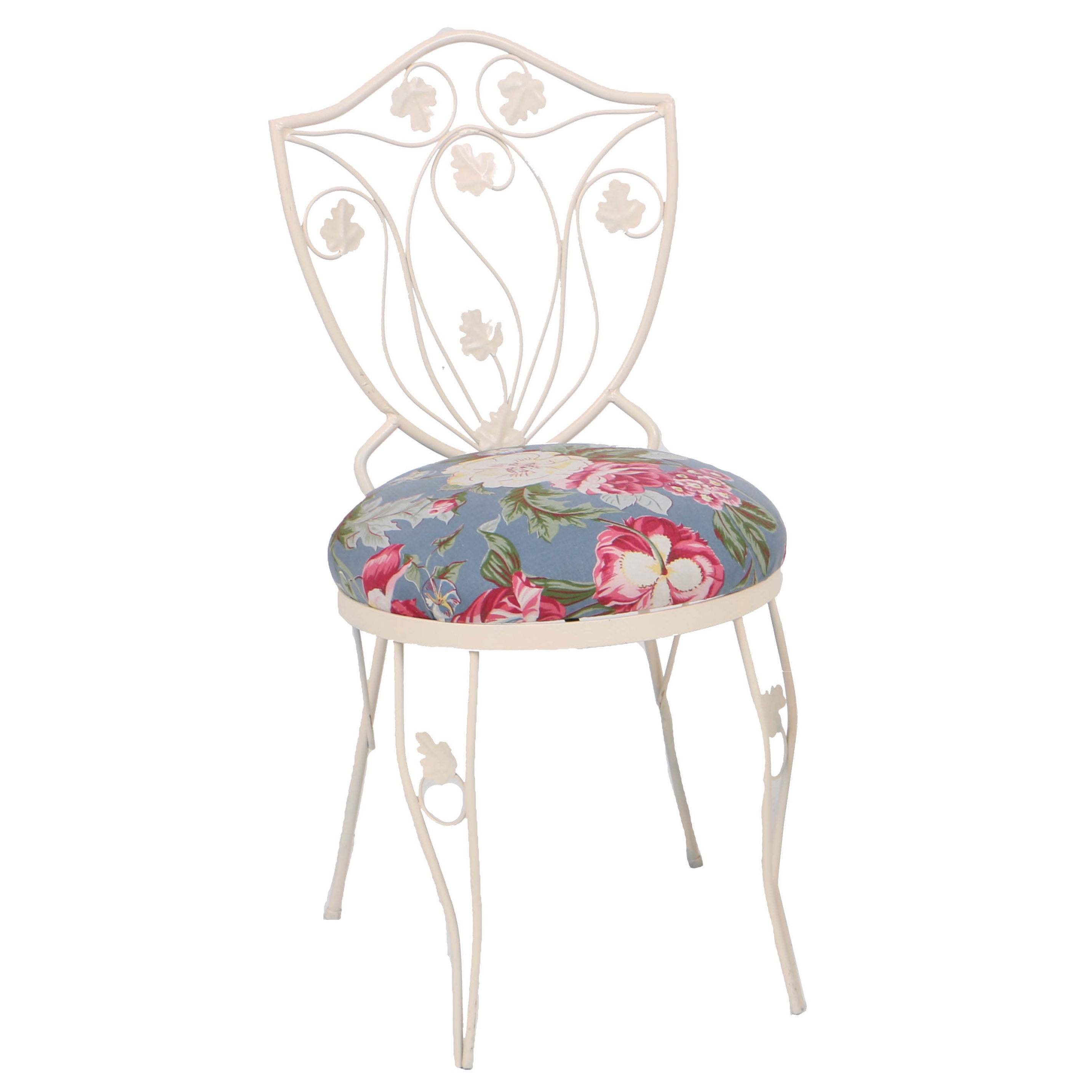 Iron Patio Side Chair with Floral Seat