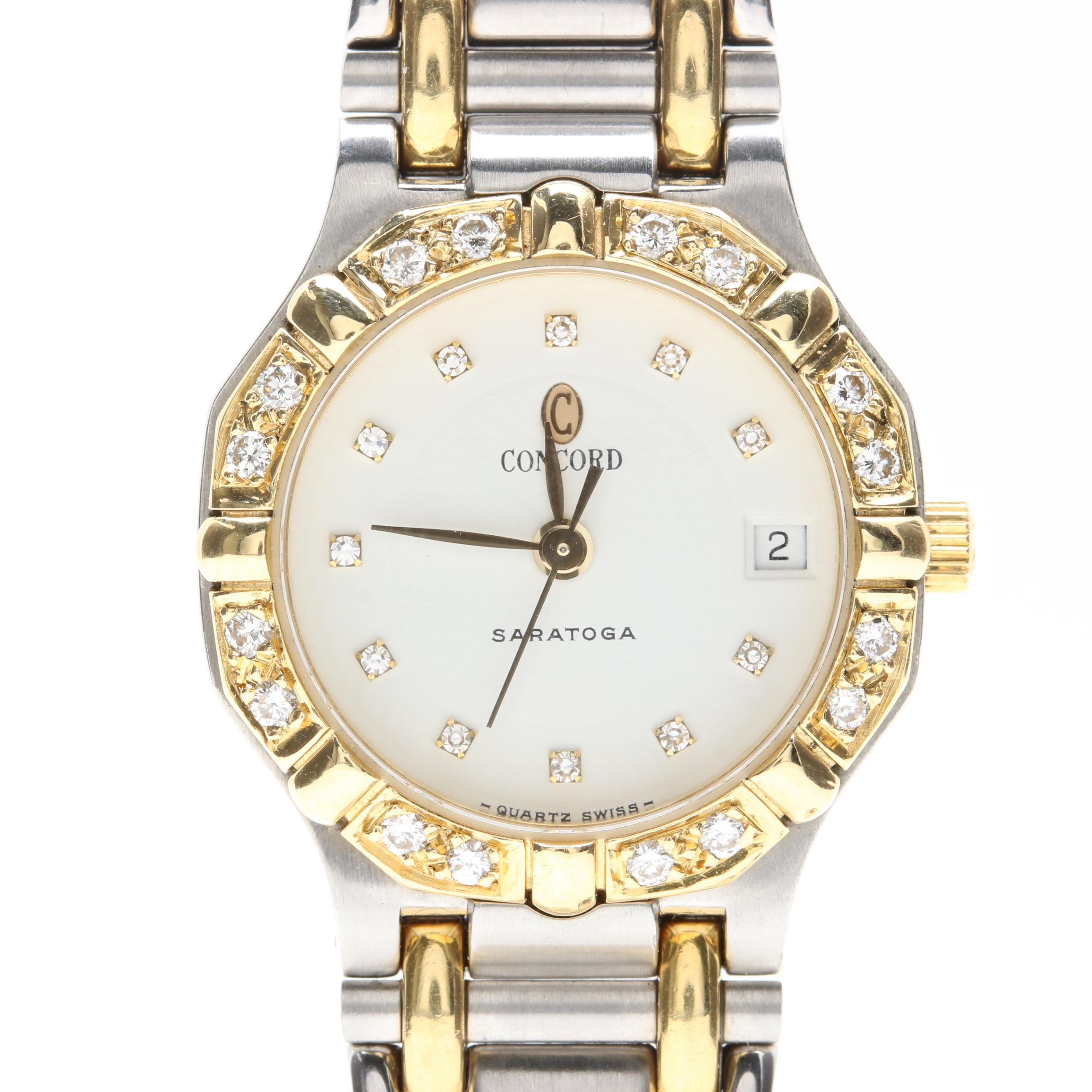 Stainless Steel and 18K Diamond Accented Concord Saratoga Wristwatch