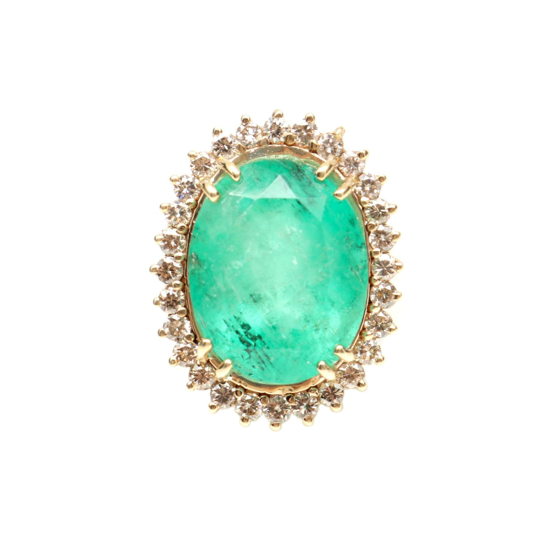 14K Yellow Gold 13.85 CT Emerald and 1.00 CTW Diamond Ring