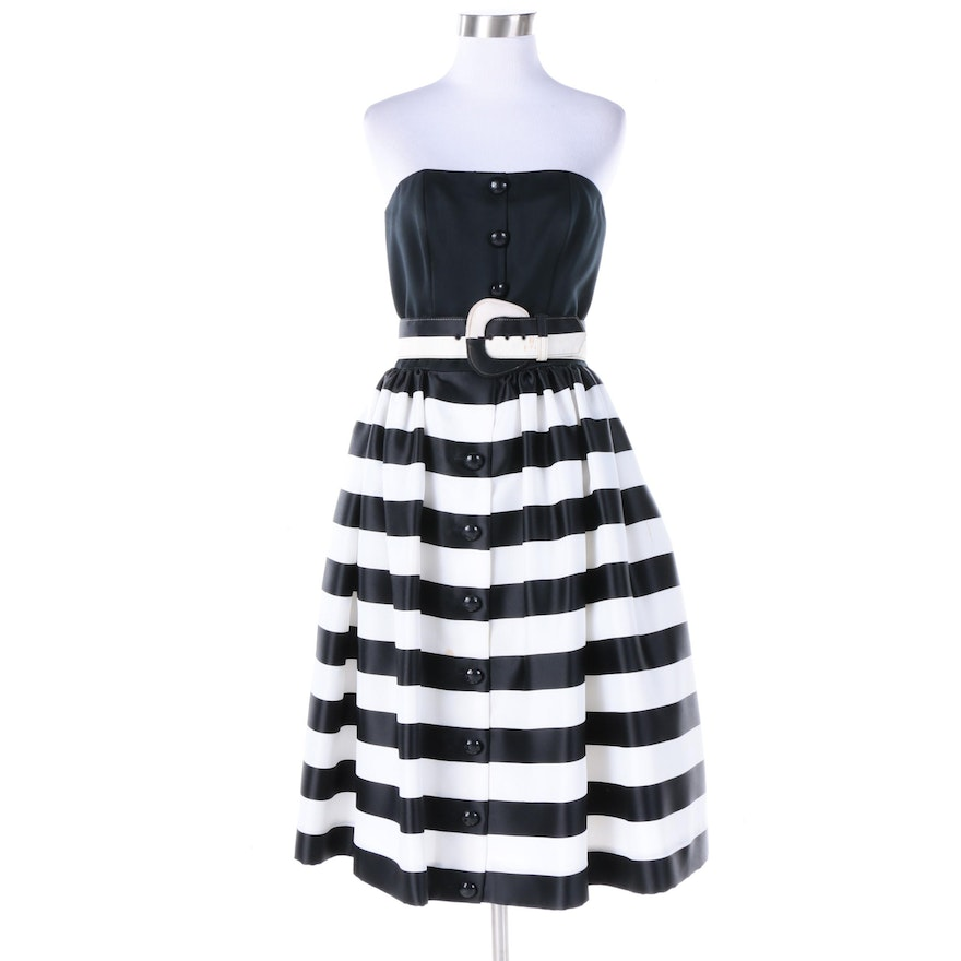 5baea074f17 Vintage Victor Costa for Neiman Marcus Strapless Striped Fit and Flare Dress