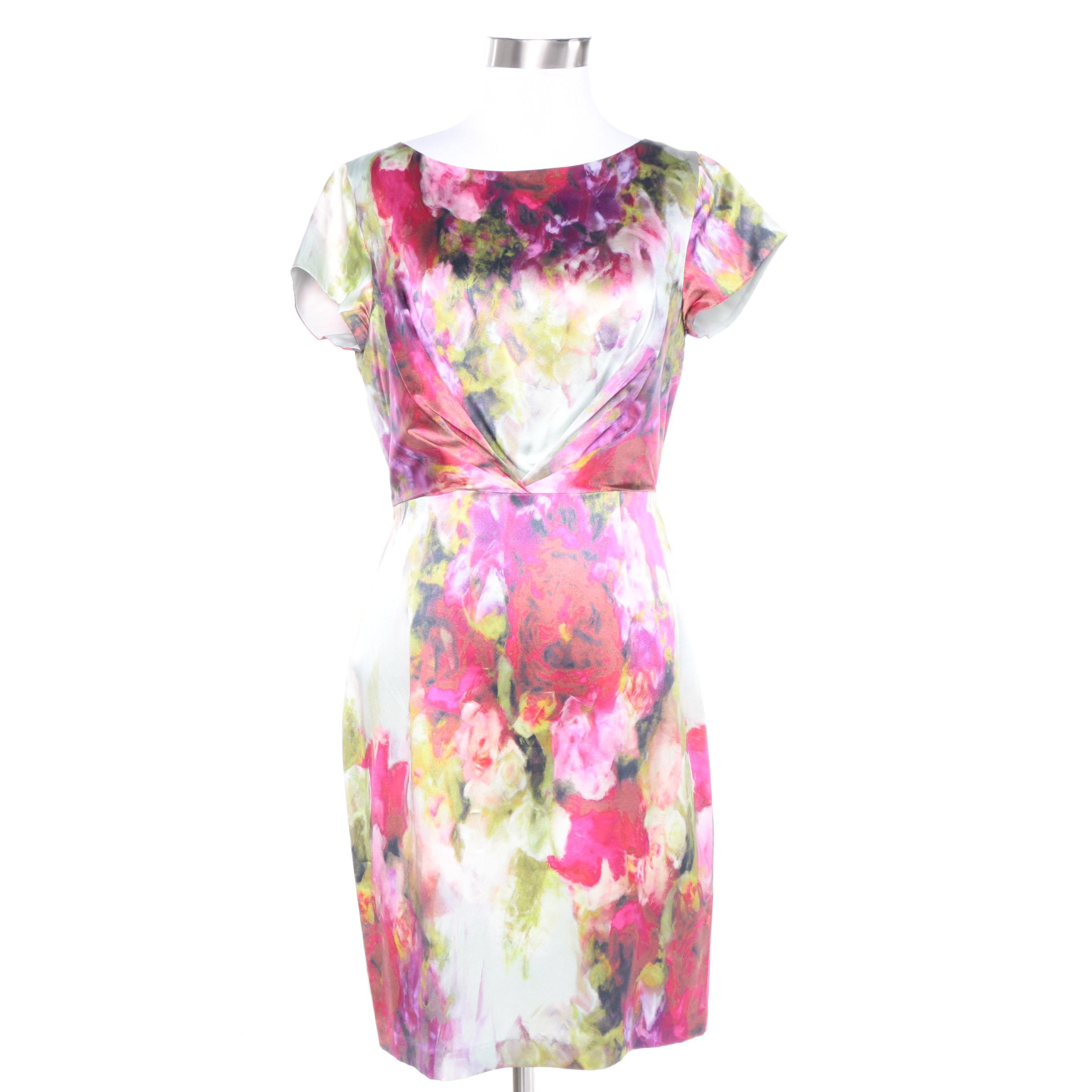 L.K. Bennett Floral Silk Short Sleeve Sheath Dress