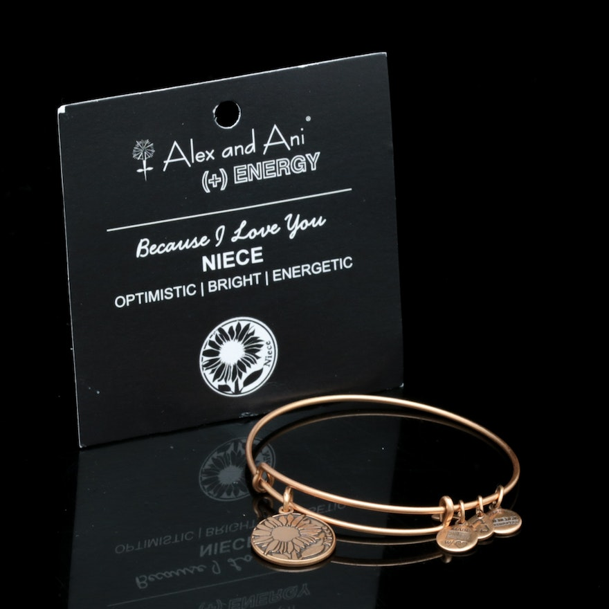 Alex And Ani Gold Tone Niece Charm Bangle