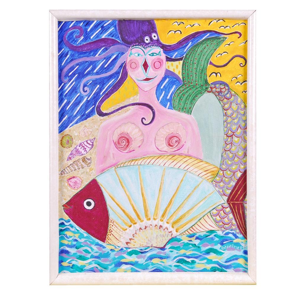 "Everina Payne Acrylic Painting ""Chicken Of The Sea"""
