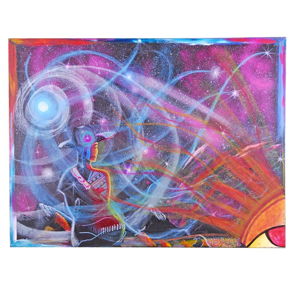 "Randy Sauceda Acrylic Painting ""Blue Skies"""
