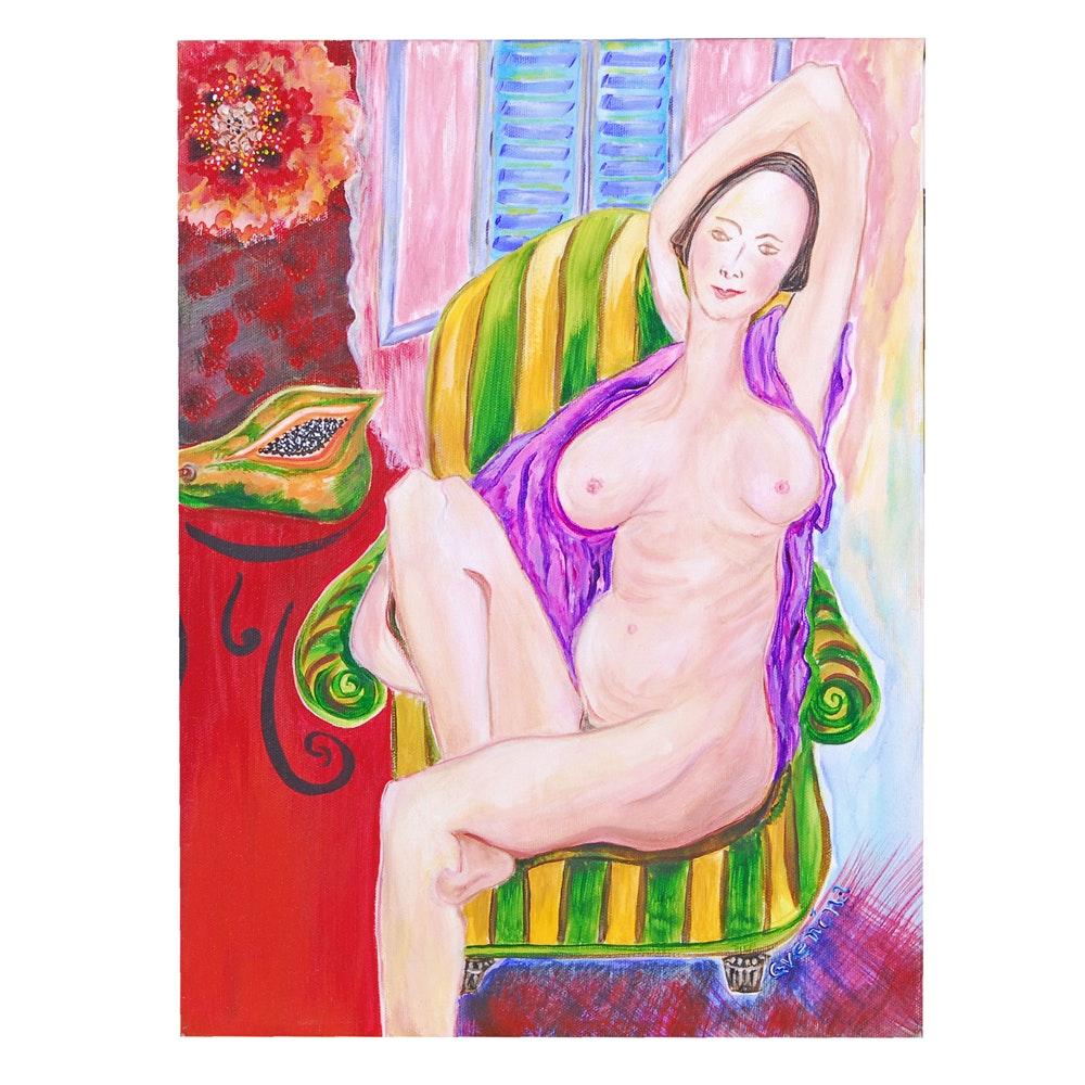 "Everina Payne Acrylic Painting ""Papaya with Poppy"""