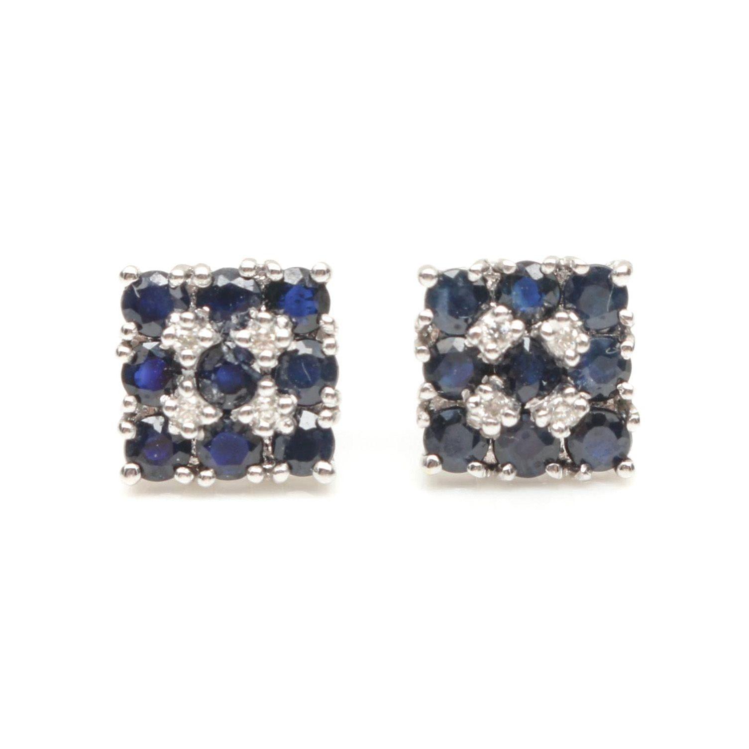 14K White Gold Diamond and Blue Sapphire Earrings