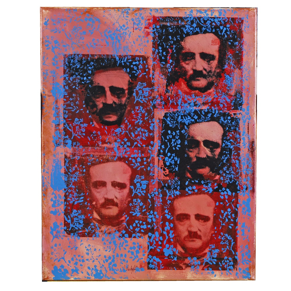 "Stephen Wakefield Acrylic Painting ""Poe On Canvas 1"""