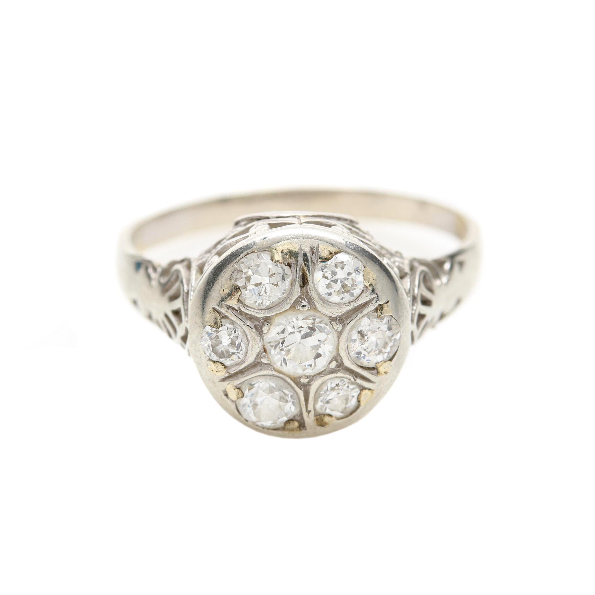 18K White Gold Old European Cut Diamond Ring
