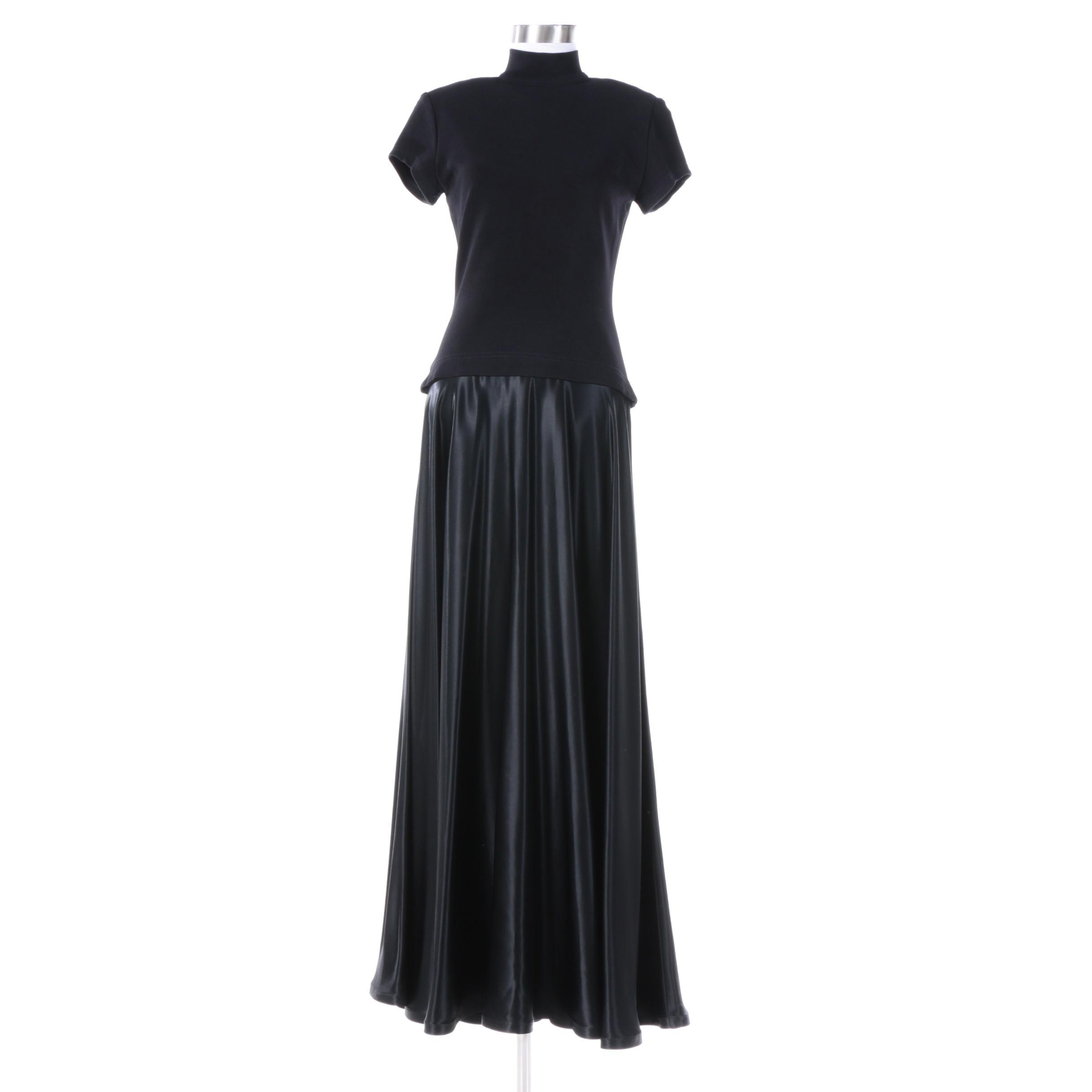 Tadashi Black Short Sleeve Nylon Blend Turtleneck Gown