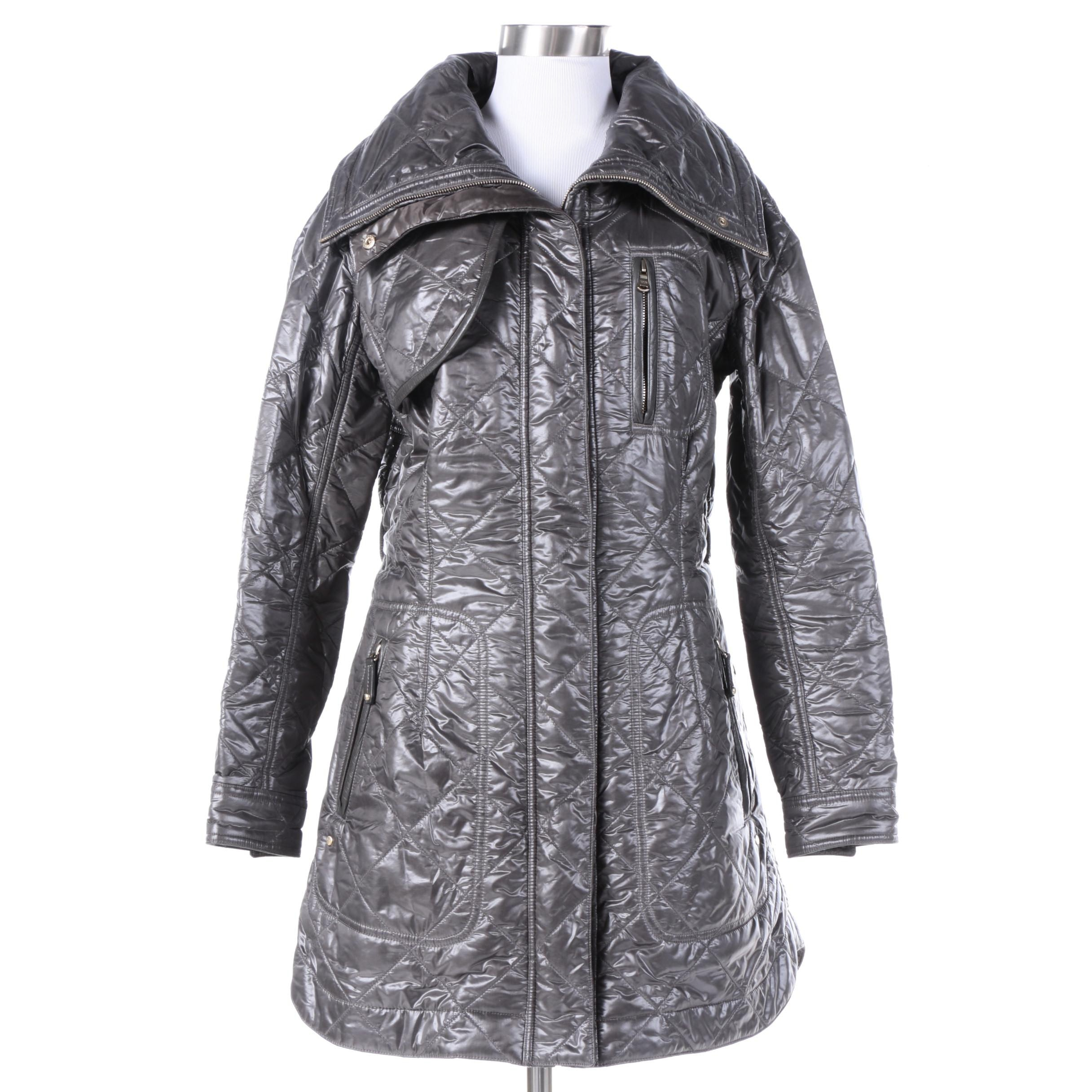 Tod's Dark Gray Quilted Jacket with Lambskin Trim