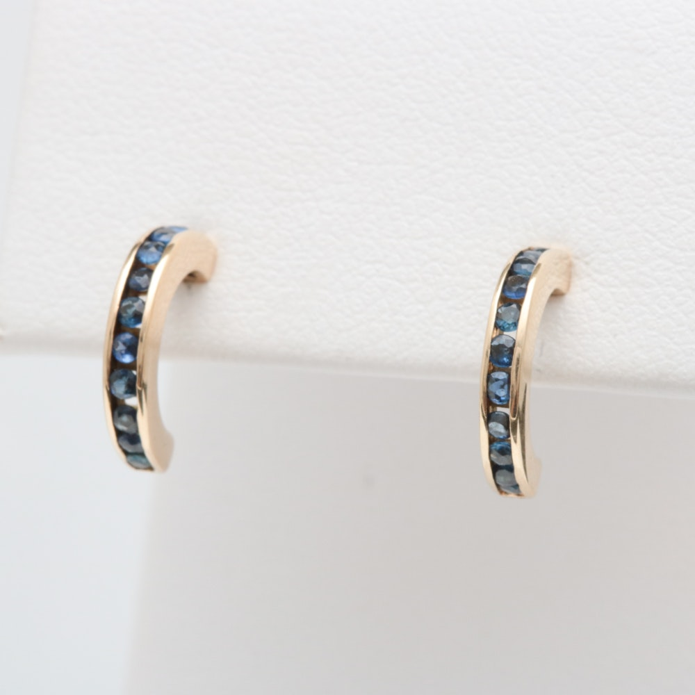 14K Yellow Gold and Blue Sapphire Earrings