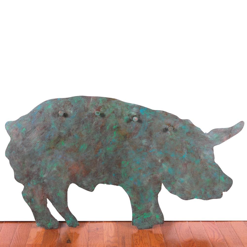 "Stephen Wakefield Steel Silhouette Sculpture ""Small Pig"""