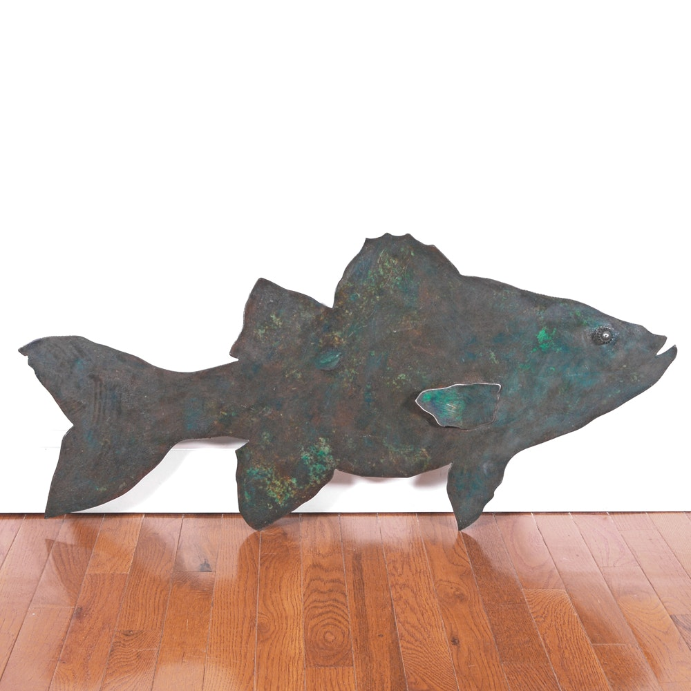 "Stephen Wakefield Steel Wall Hanging ""Green Fish"""