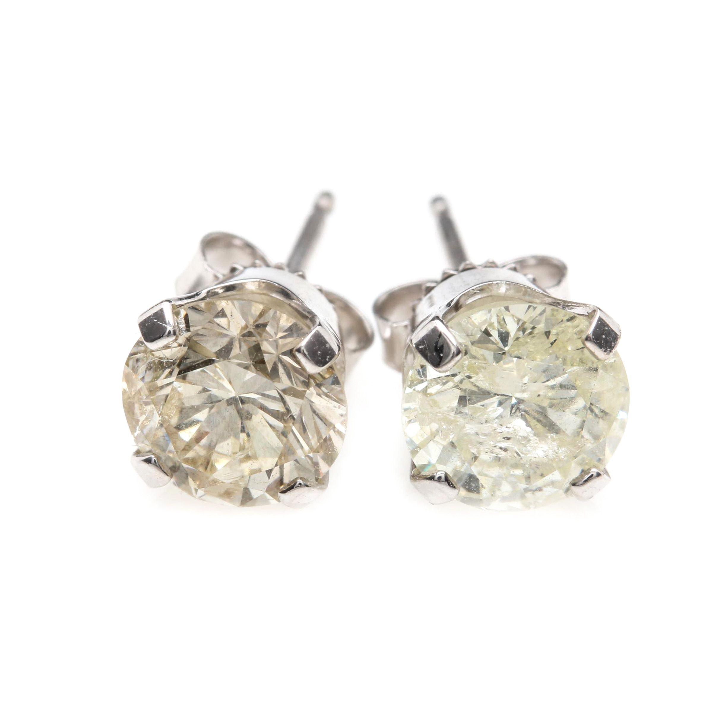14K White Gold 2.01 CTW Diamond Stud Earrings