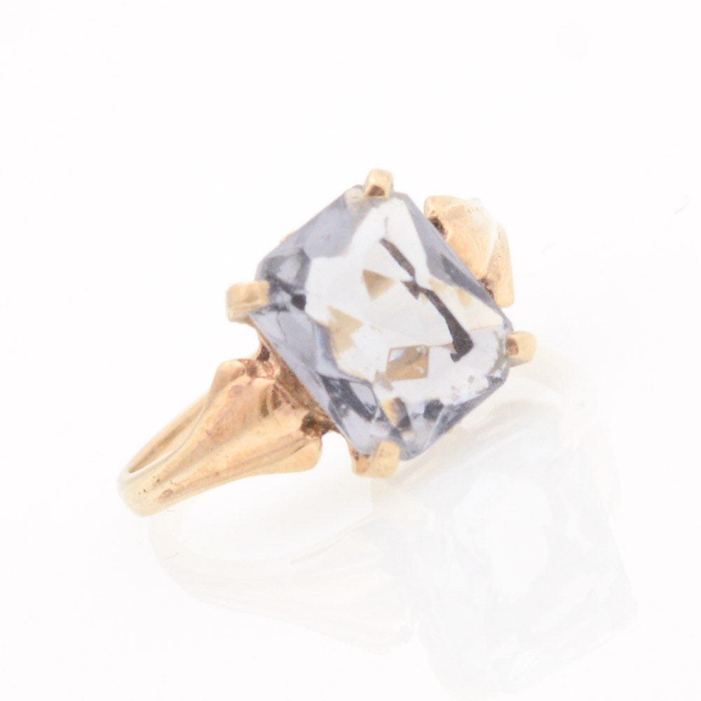 10K Yellow Gold Ring with Synthetic Spinel