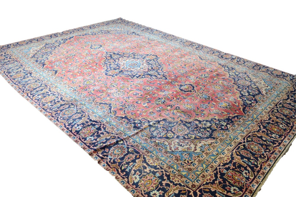 Vintage Hand-Knotted Persian Kashan Rug