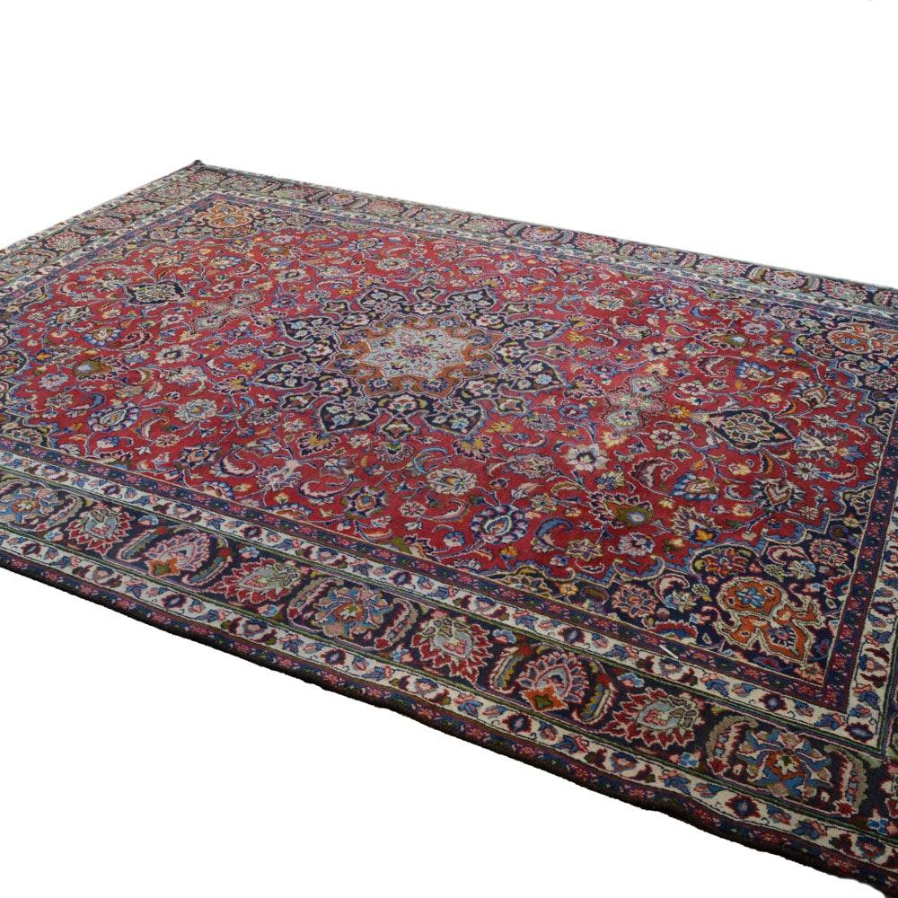 Vinatge Hand-Knotted Persian Mashad Rug Signed Ghoparvar