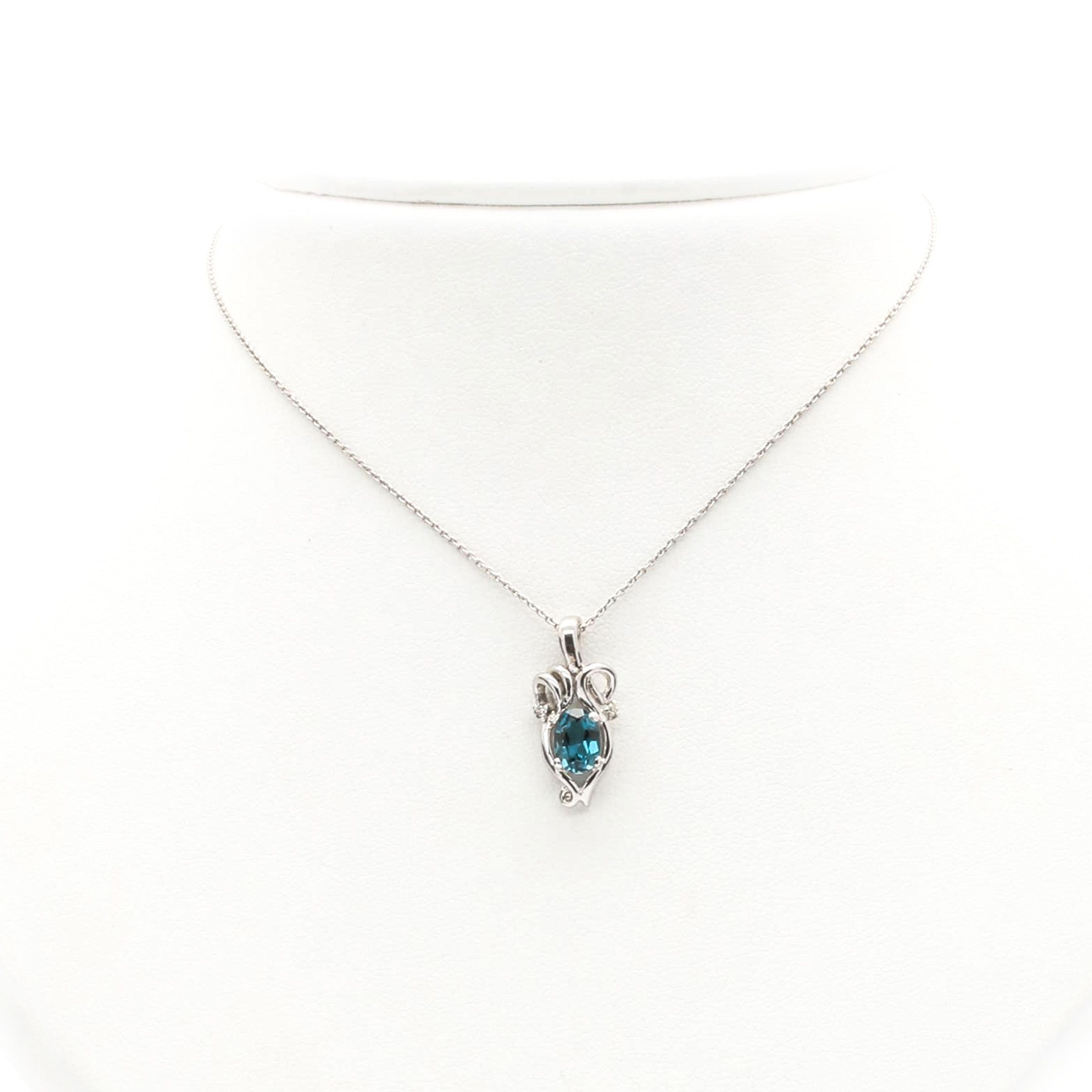 14K and 18K White Gold Blue Topaz and Diamond Necklace
