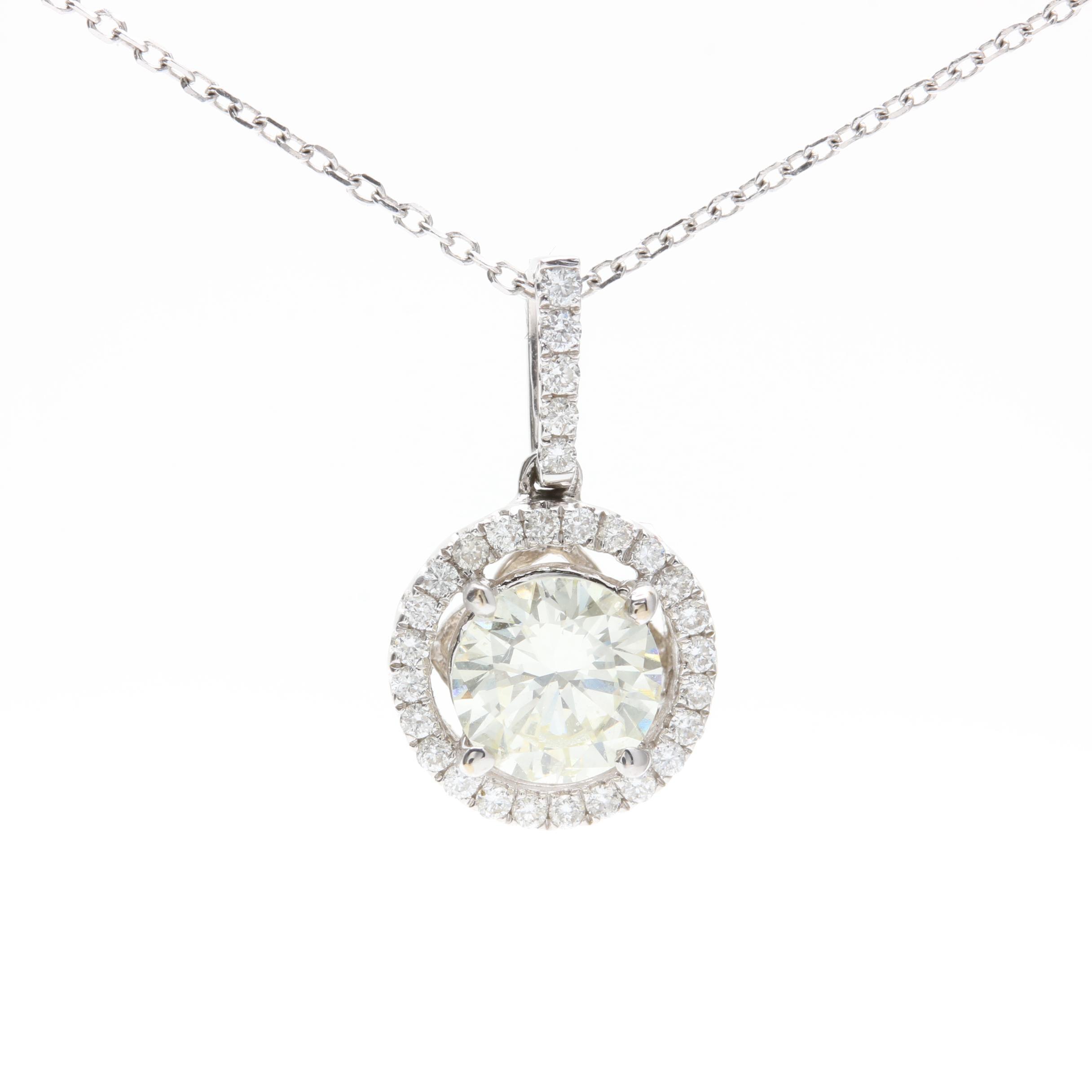 14K and 18K White Gold 0.88 CTW Diamond Pendant Necklace