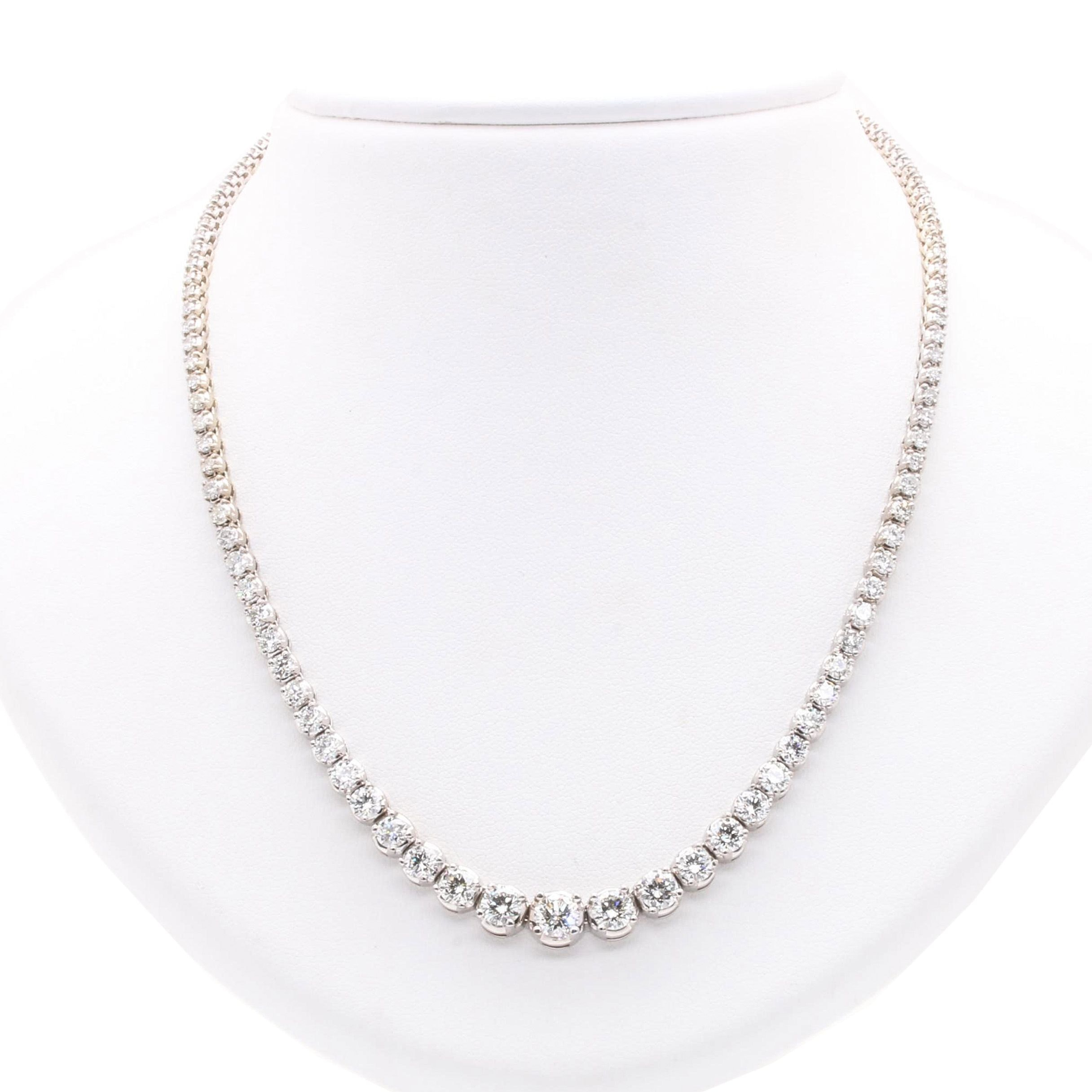 14K White Gold 10.78 CTW Diamond Necklace