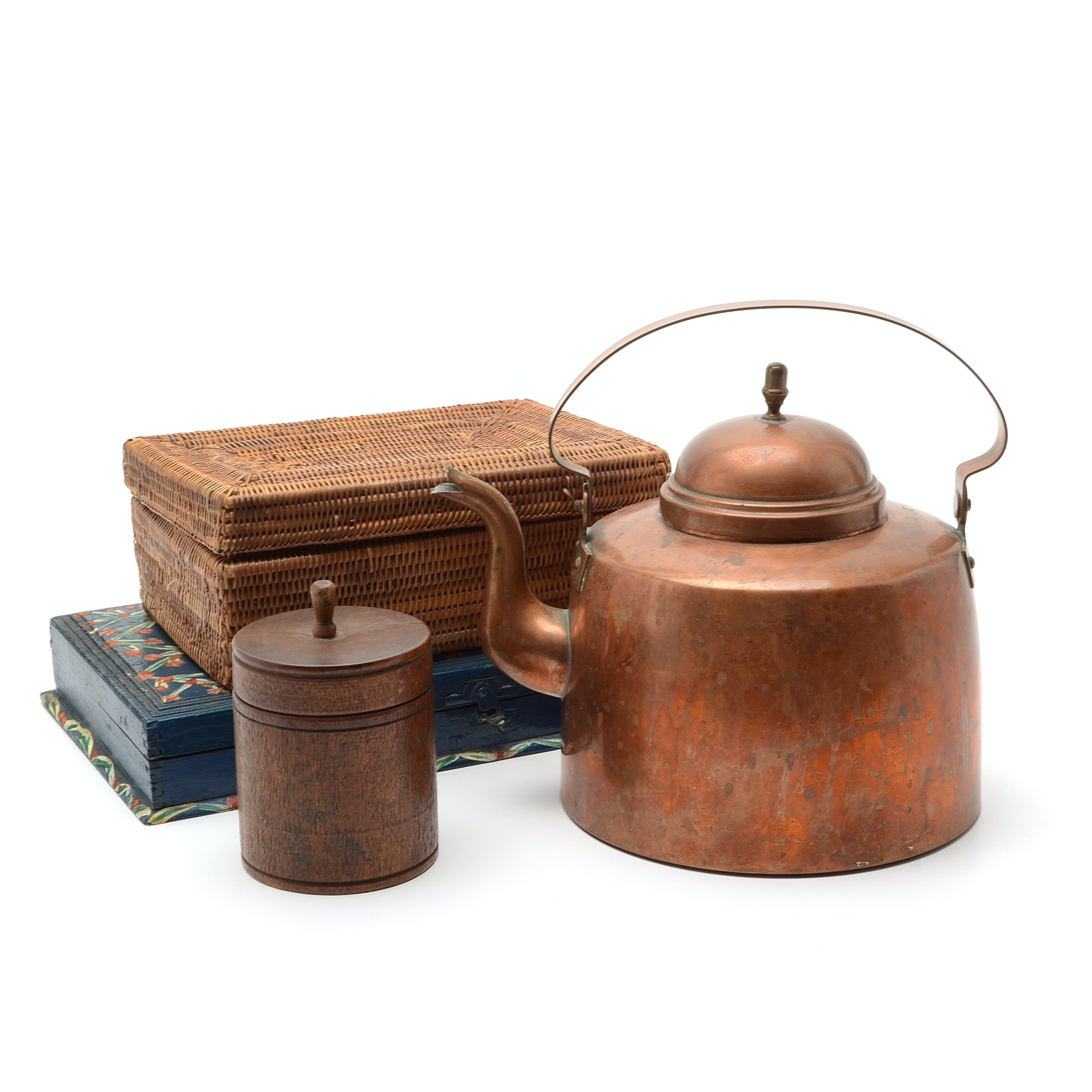 Antique Copper Kettle and Boxes