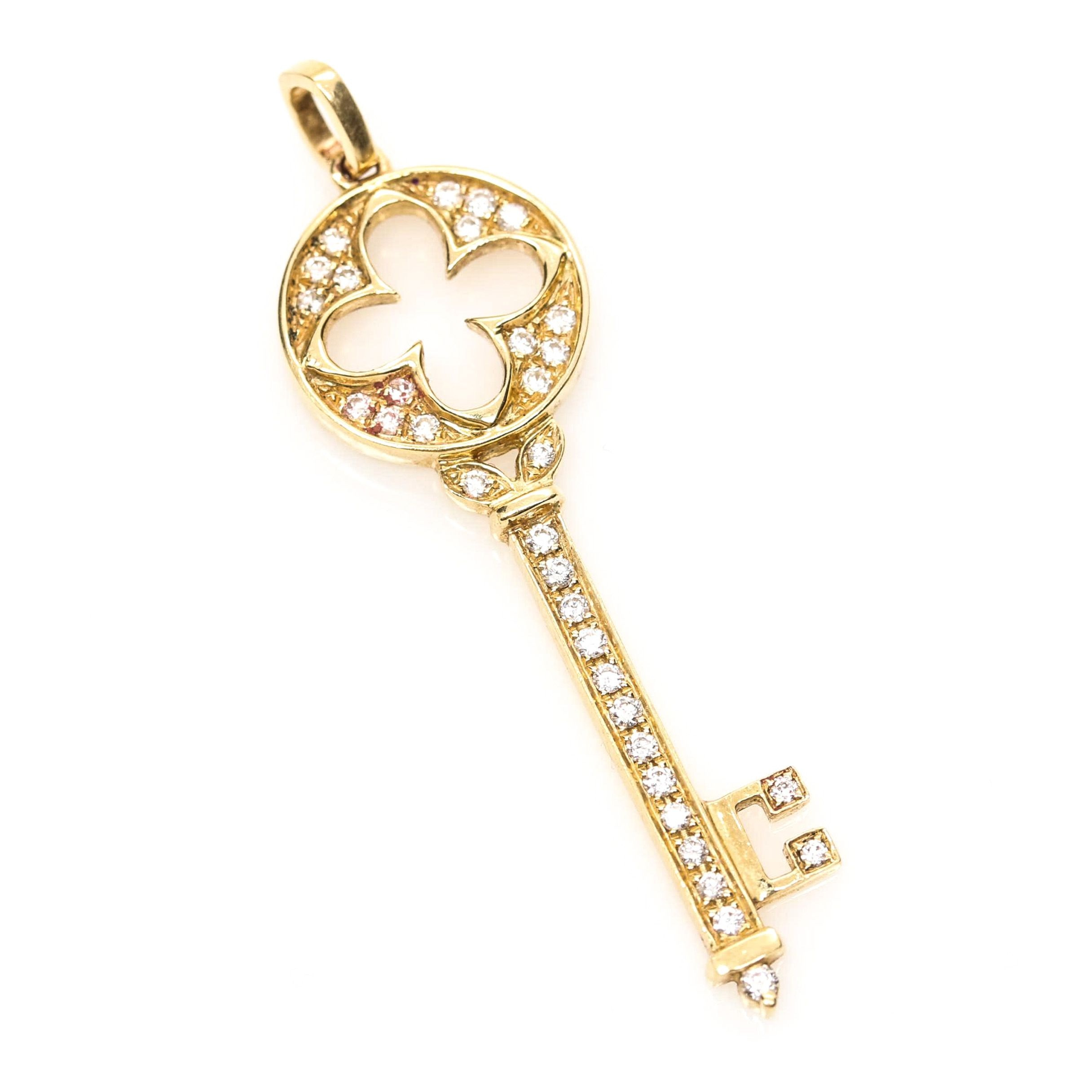 18K Yellow Gold Diamond Key Pendant