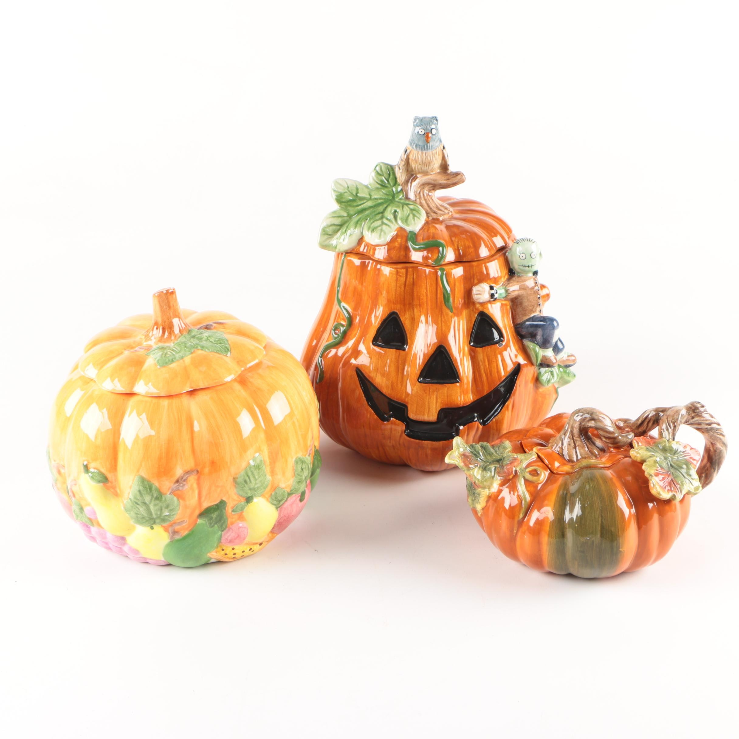 Ceramic Pumpkin Shaped Containers and Teapot Featuring Sakura and Russ