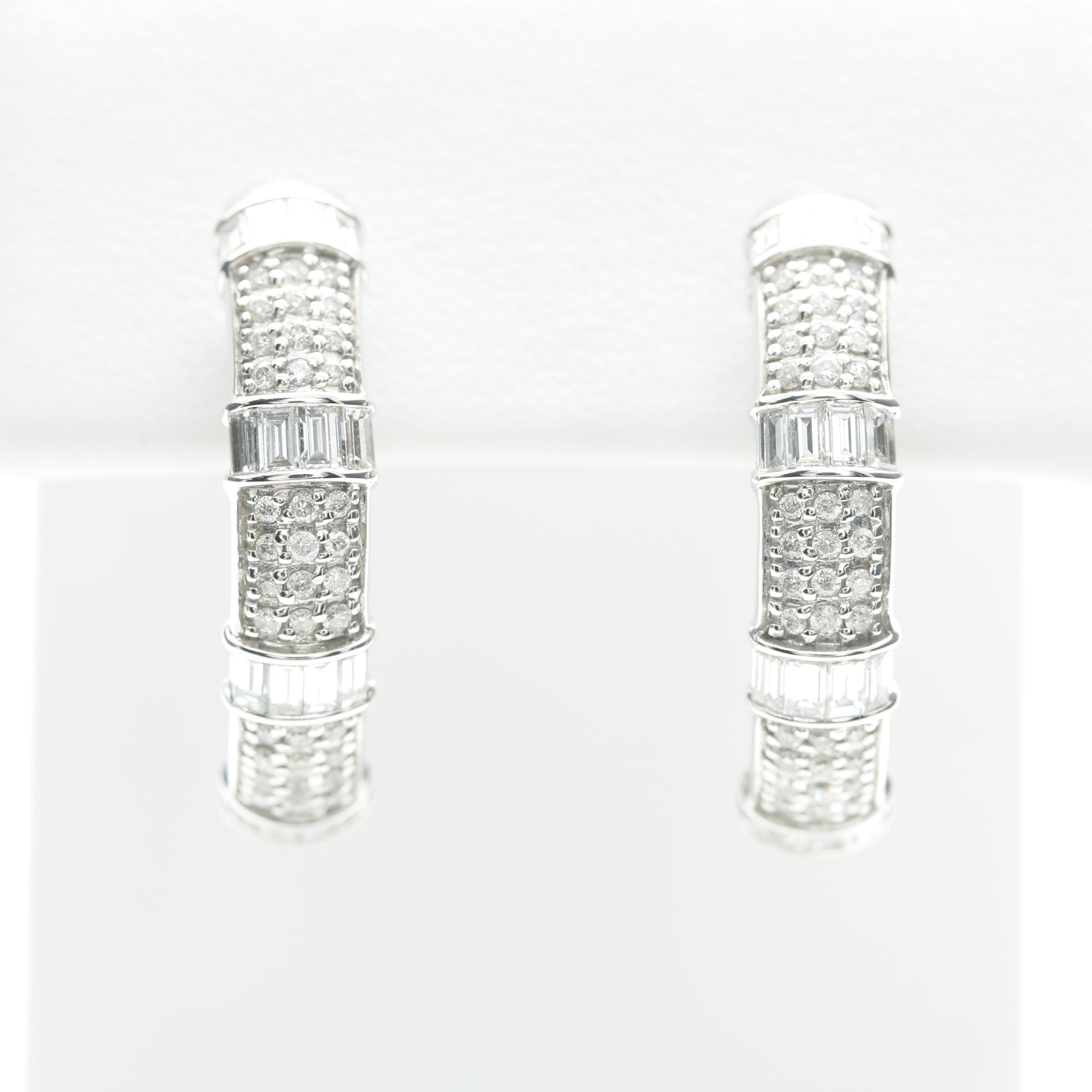 14K White Gold 1.28 CTW Semi Hoop Earrings