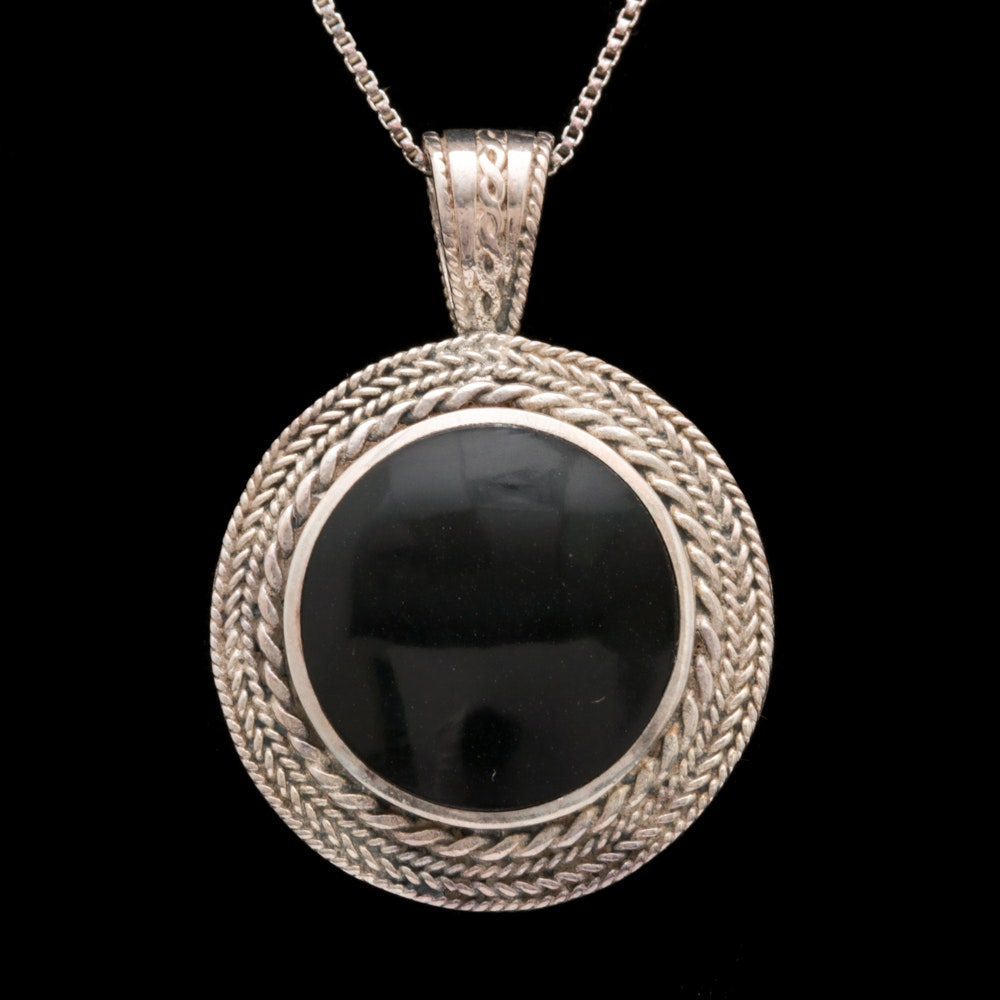 Sterling Silver and Black Chalcedony Pendant with Chain