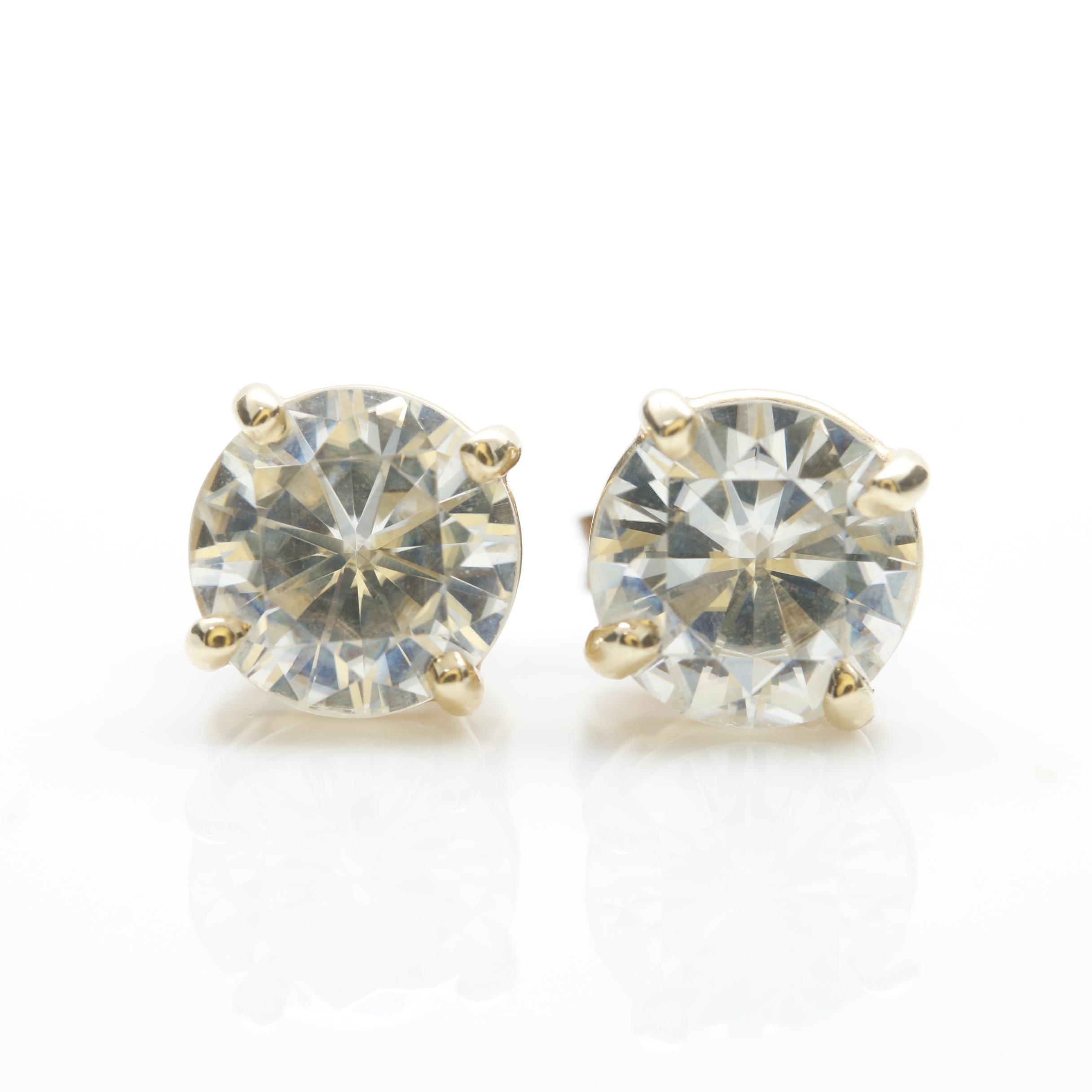 14K Yellow Gold Moissanite Stud Earrings