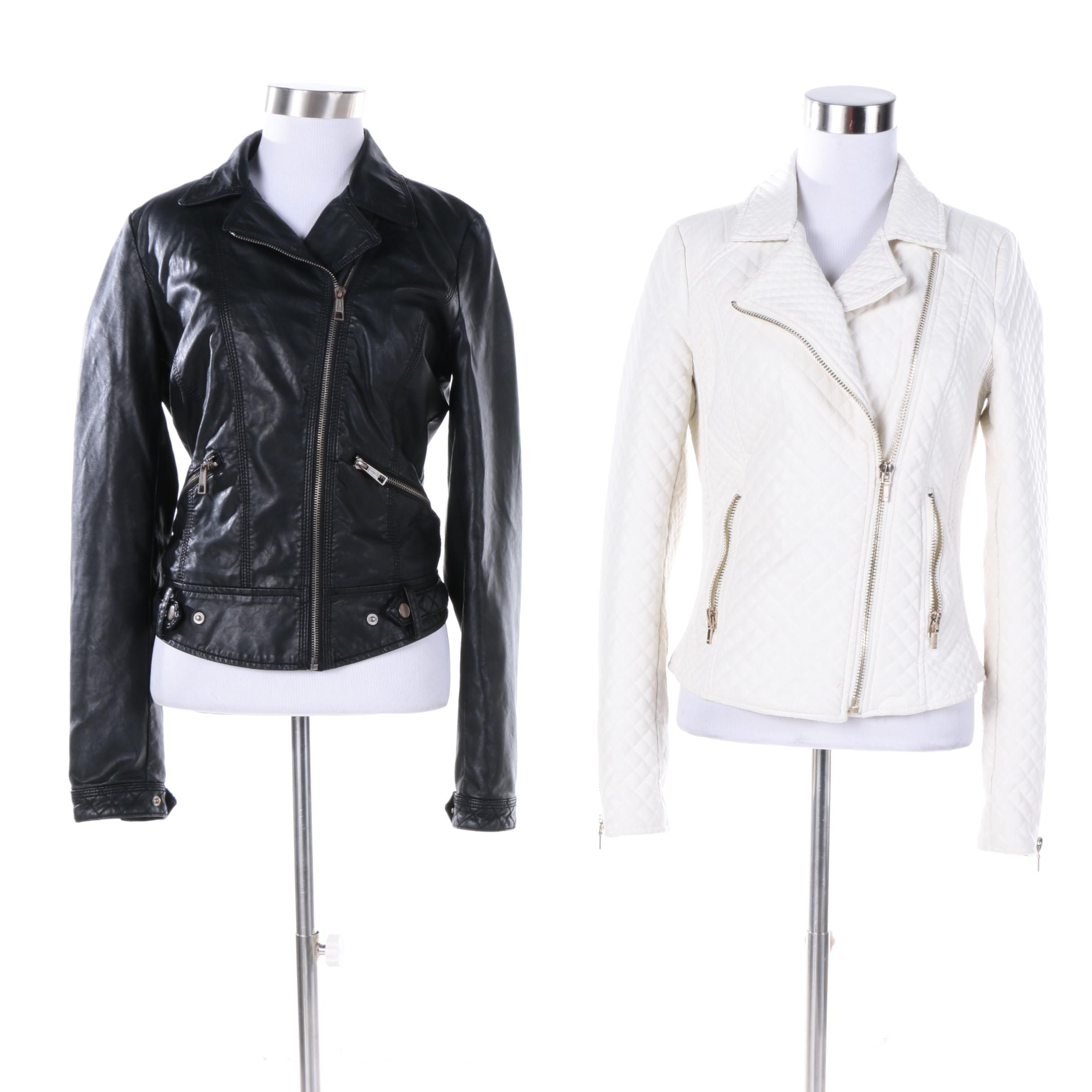Women's Zara Trafaluc Faux Leather and Quilted Zip Up Jackets