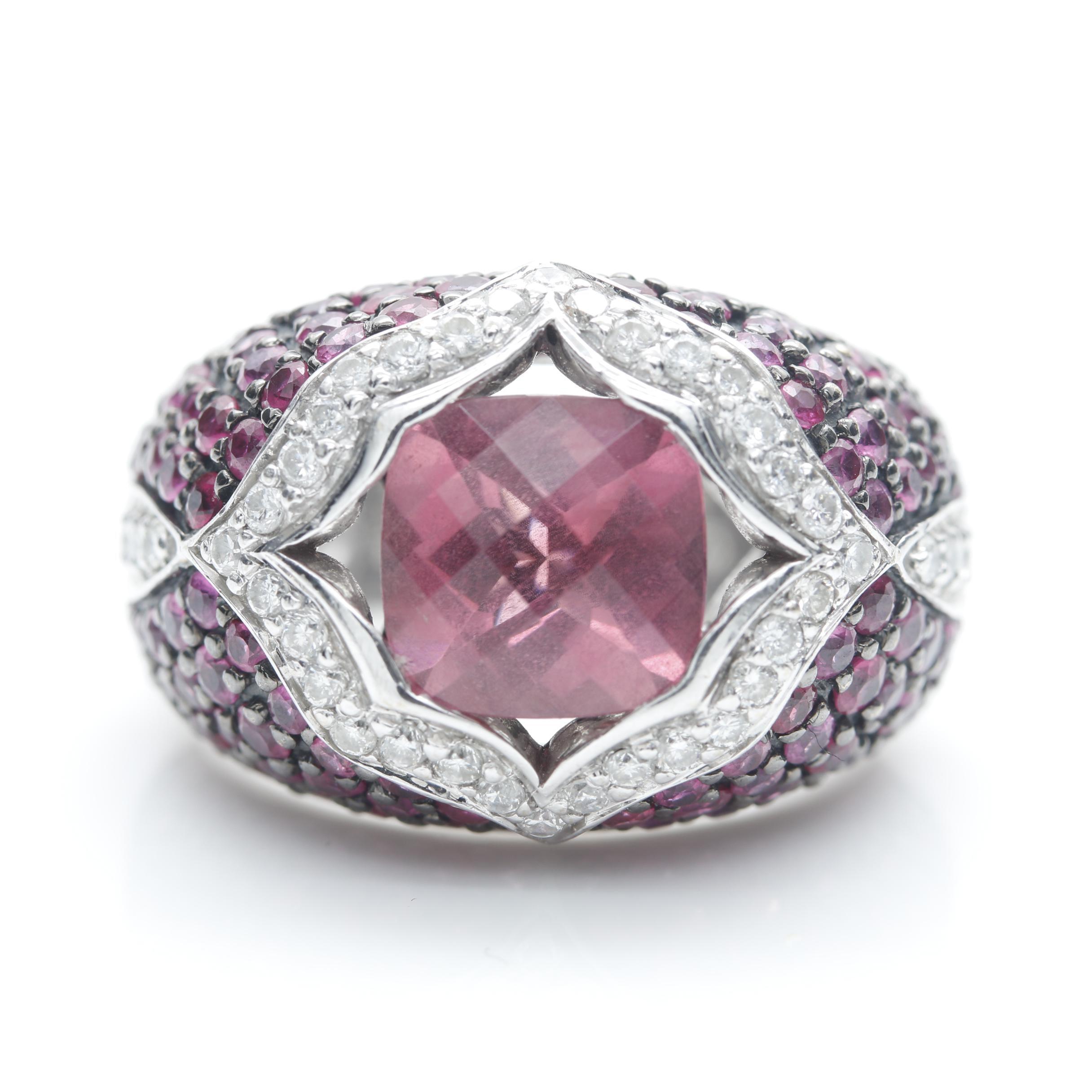 Sonia B. 18K White Gold Pink Tourmaline, Diamond, and Pink Sapphire Ring