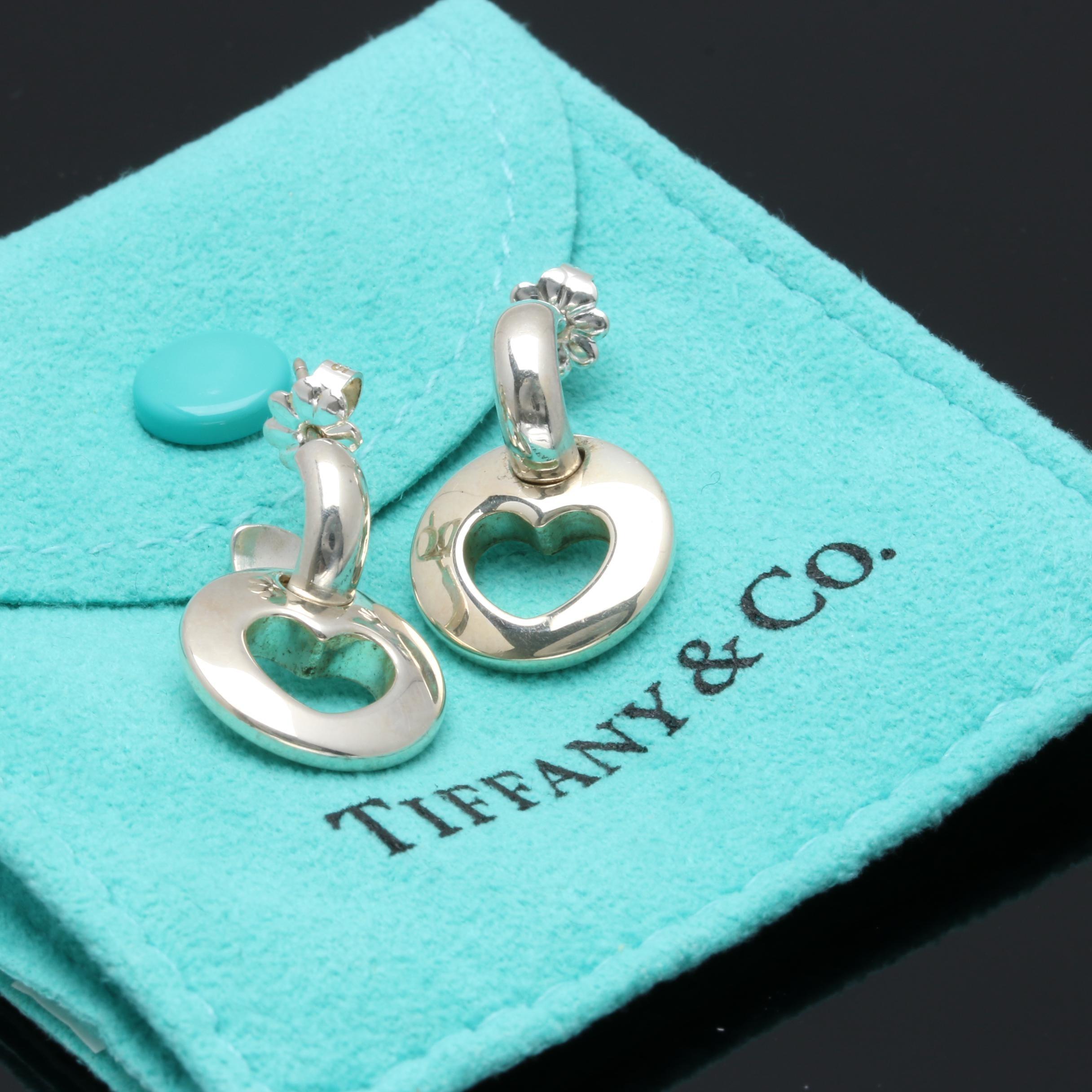 Tiffany & Co. Sterling Silver Heart Hoop Earrings