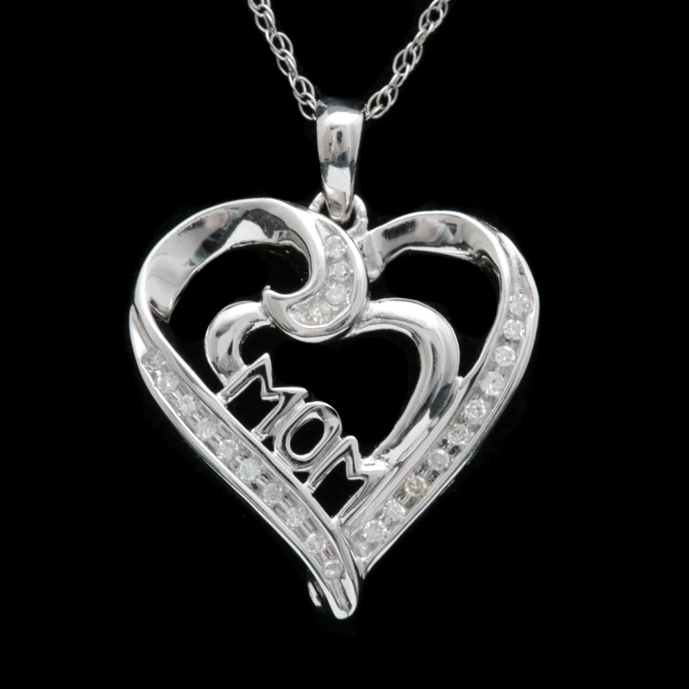 """10K White Gold and Diamond """"MOM"""" Open Heart Pendant with Chain"""