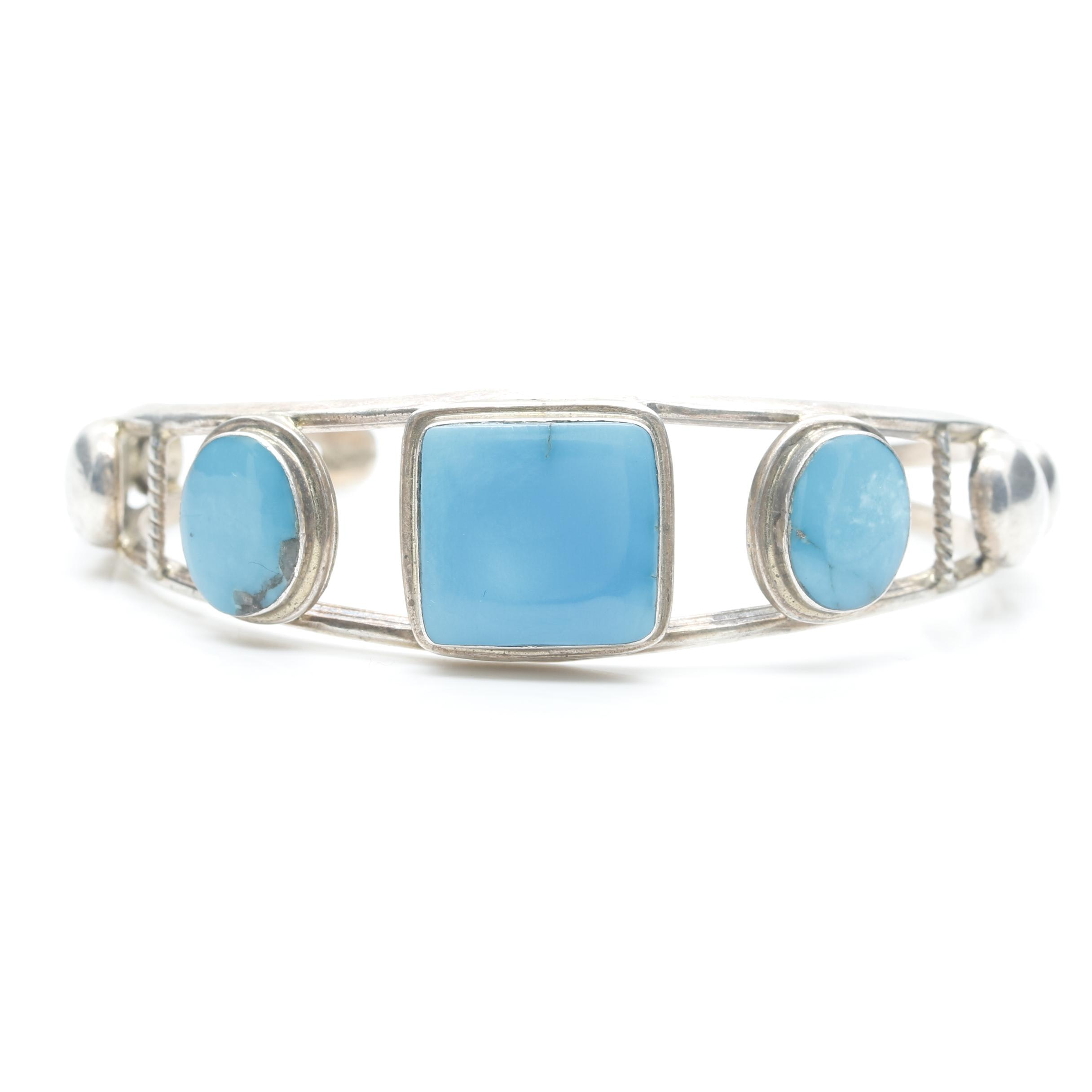 Marc Begay Navajo Diné Sterling Silver Turquoise Cuff Bracelet