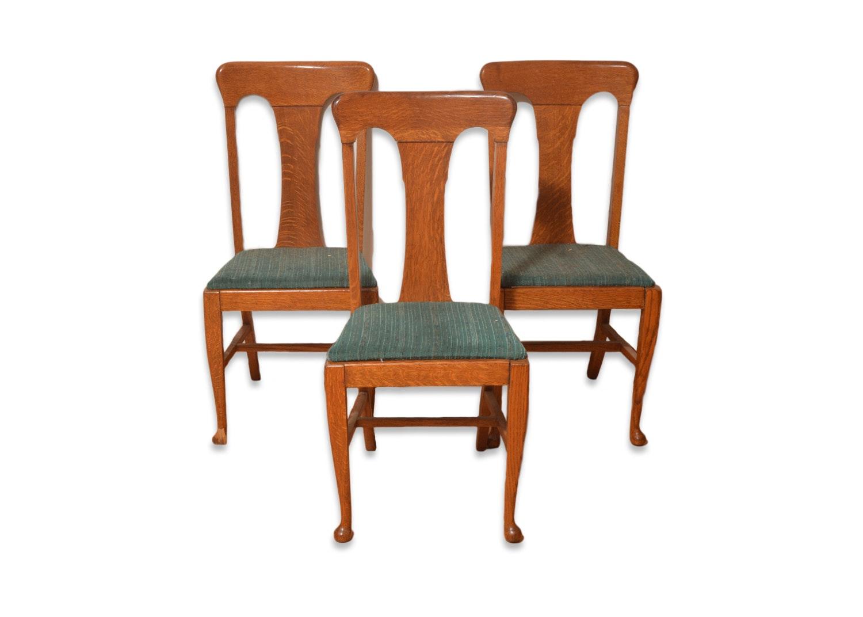 Three Antique Quarter-Sawn Oak Chairs