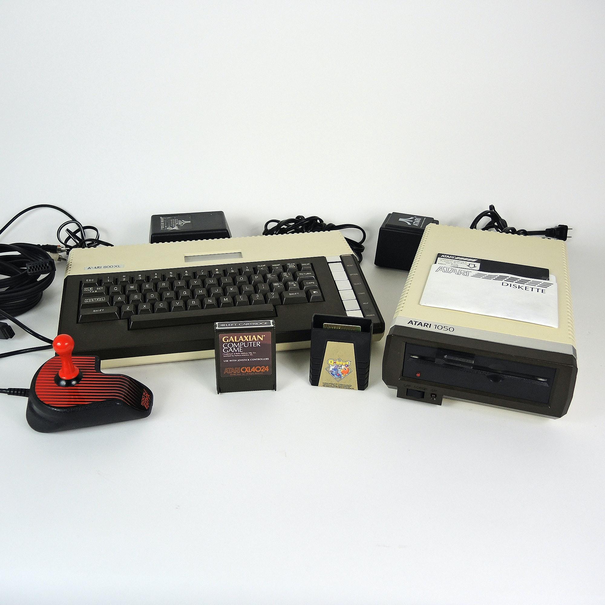 Vintage Atari 800XL and Atari 1050 Computer Console