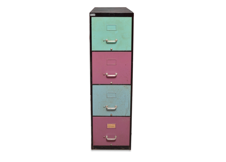 Vintage Painted Vertical Filing Cabinet