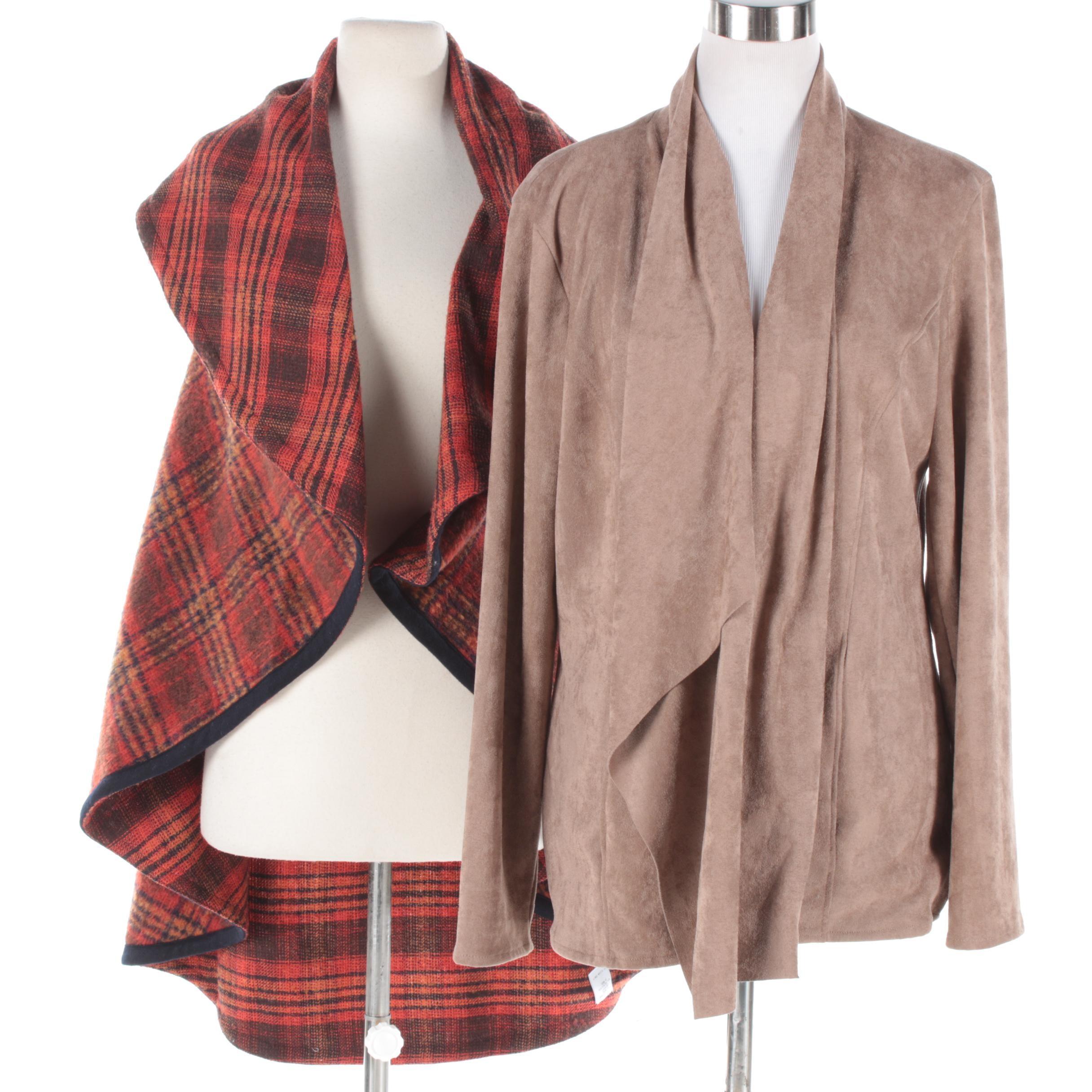 Women's Open Front Vest and Faux Suede Jacket