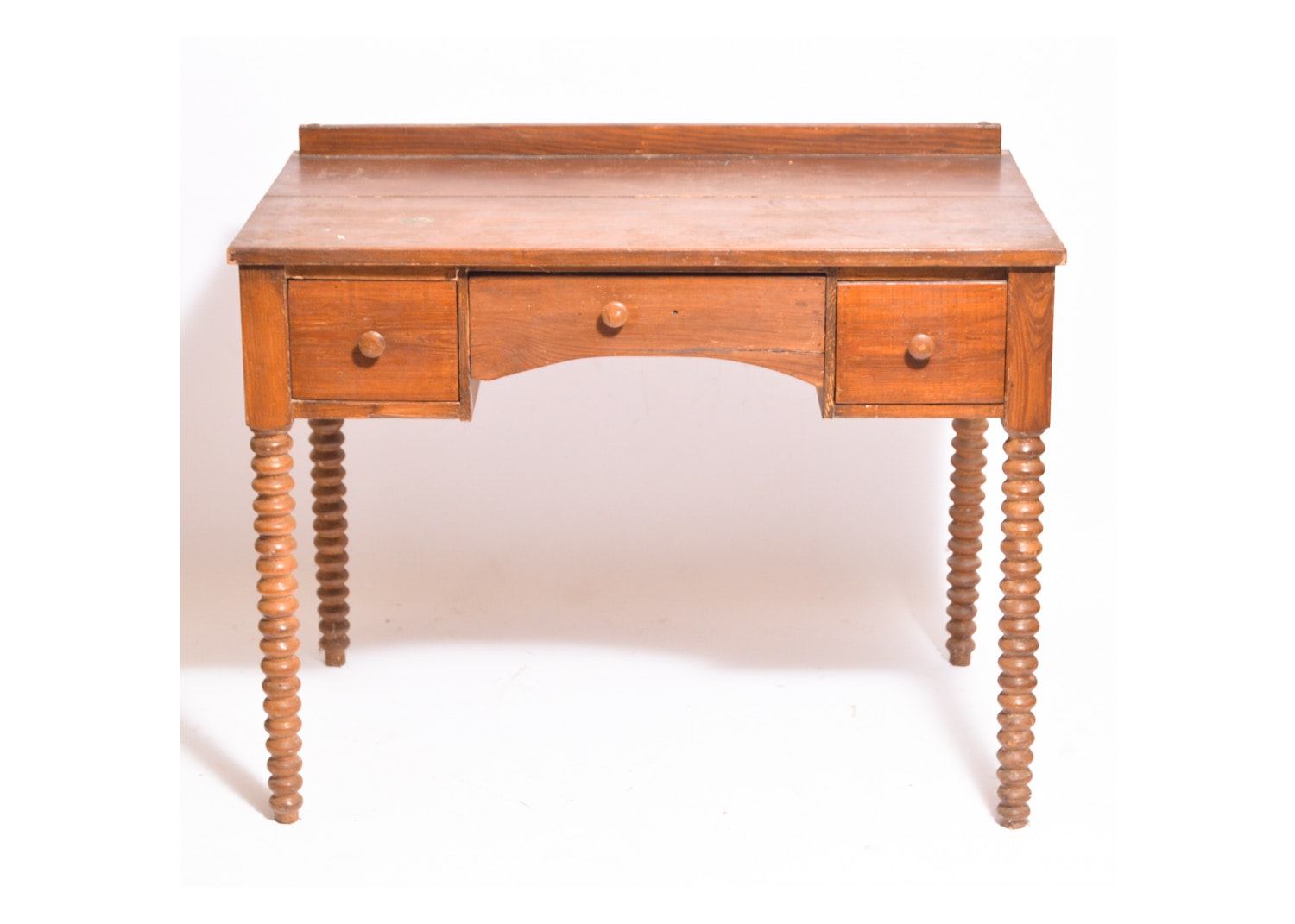 Antique Spool-Turned Southern Yellow Pine Desk