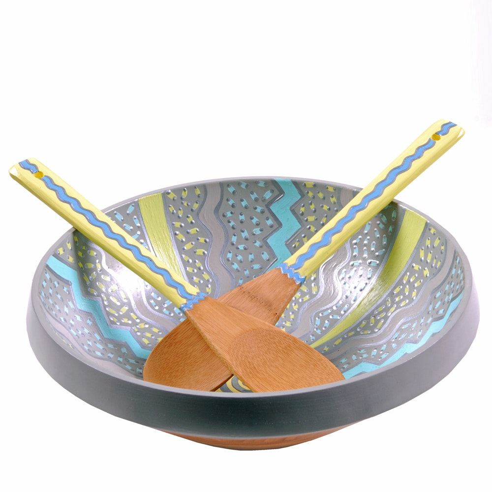 """Kelly Cahill Ames Repurposed Painted Bowl """"Emotional Rescue"""""""