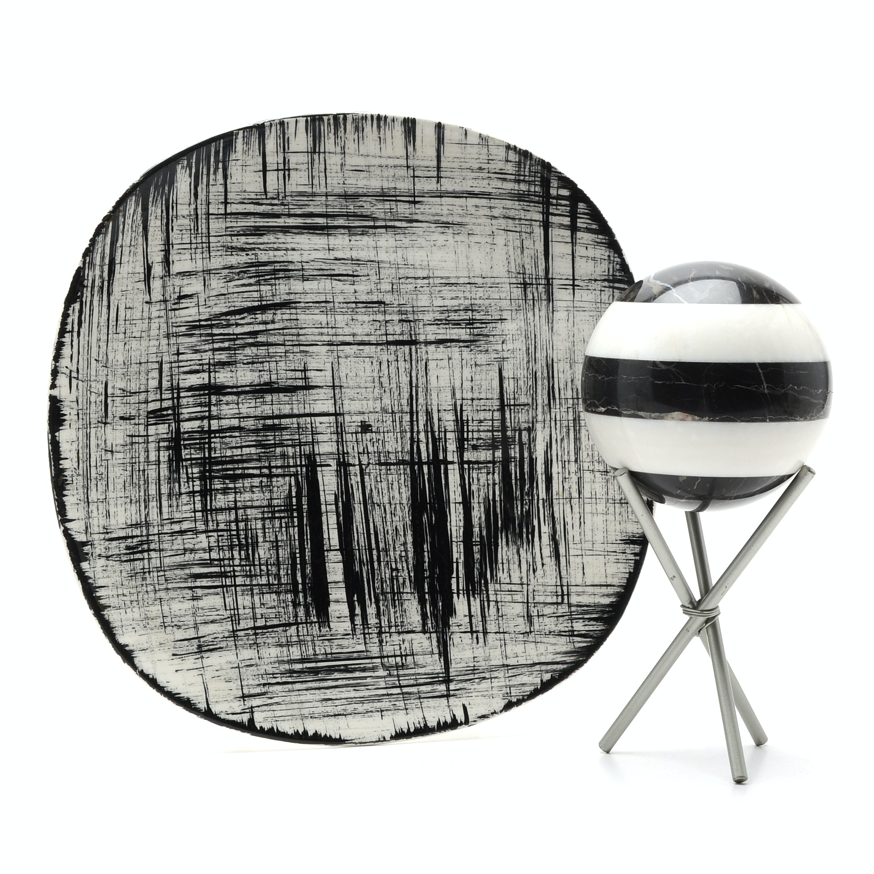 Decorative Platter And Marble Orb With Stand